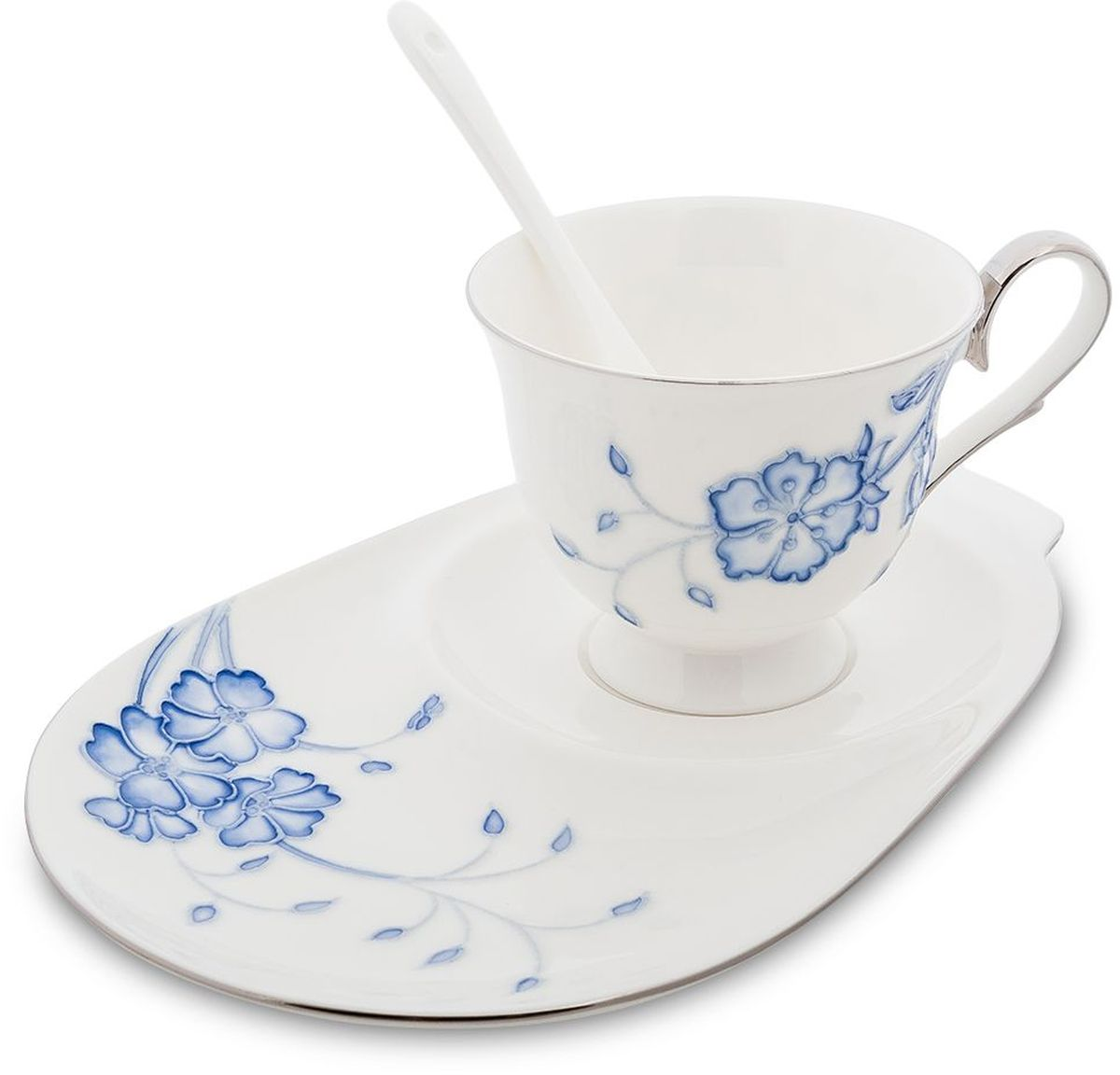 Чайная пара Pavone Голубая бабочка, 3 предмета. 451606451606Объем чашки: 250 мл Длина блюдца: 23 см