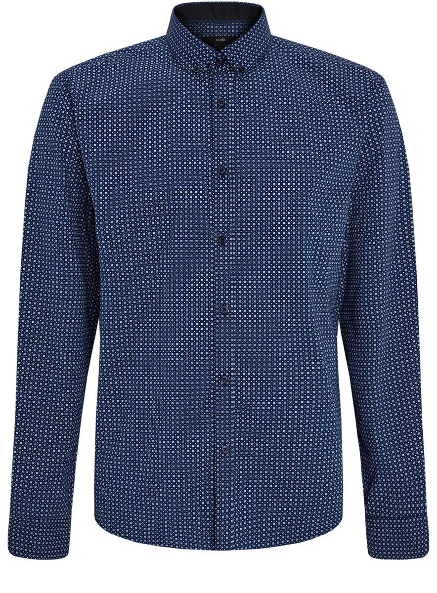 Рубашка мужская oodji Lab, цвет: черный, синий, белый. 3L110203M/19370N/7975G. Размер 40 (48-182)3L110203M/19370N/7975GСтильная мужская рубашка oodji Lab, выполненная из натурального хлопка, позволяет коже дышать, тем самым обеспечивая наибольший комфорт при носке. Модель-слим с отложным воротником и длинными рукавами застегивается на пуговицы по всей длине. Манжеты рукавов оснащены застежками-пуговицами. Изделие оформлено оригинальным принтом.