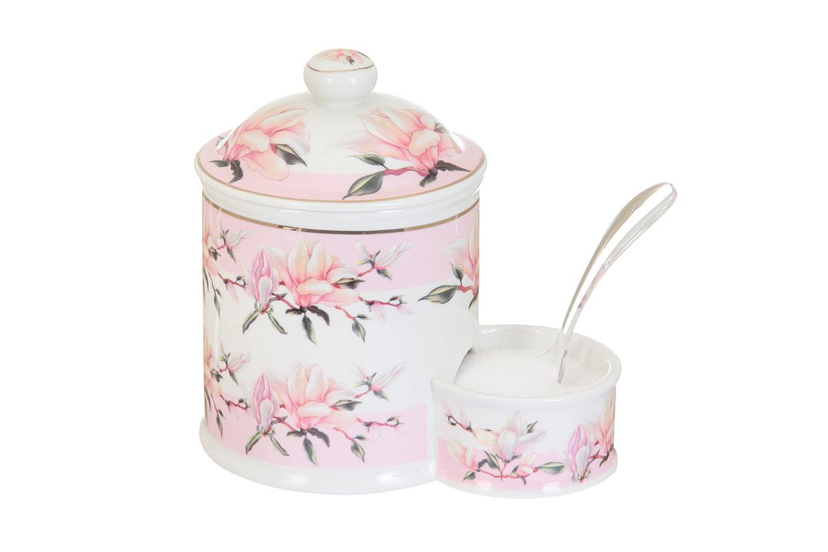 Банка для соли Elan Gallery Орхидея на розовом, с ложкой, 600 мл503760Банка для соли с ложкой великолепная идея для подарка, которому обрадуется любая хозяйка, заботящаяся о домашнем уюте и комфорте! Банка отличается оригинальным дизайном и функциональностью. Высота банки: 16 см.