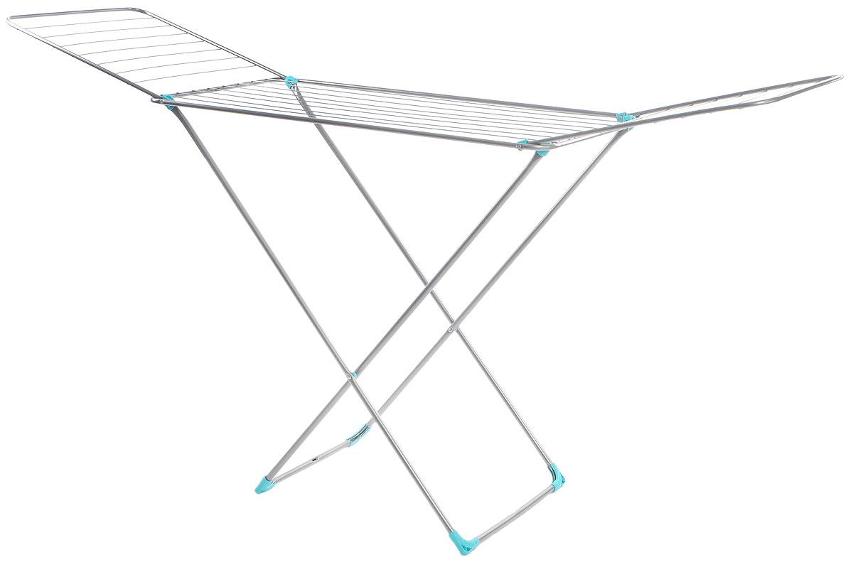Сушилка для белья Nika, напольная, цвет: темно-серый, 197 х 95 х 54 смСБ2Напольная сушилка для белья Nika проста и удобна в использовании, компактно складывается, экономя место в вашей квартире. Сушилку можно использовать на балконе или дома. Сушилка оснащена складными створками для сушки одежды во всю длину, а также имеет специальные пластиковые крепления в основе стоек, которые не царапают пол. Размер сушилки в разложенном виде: 197 х 95 х 54 см.Размер сушилки в сложенном виде: 130 х 54 х 3 см.Длина сушильного полотна: 20 м.