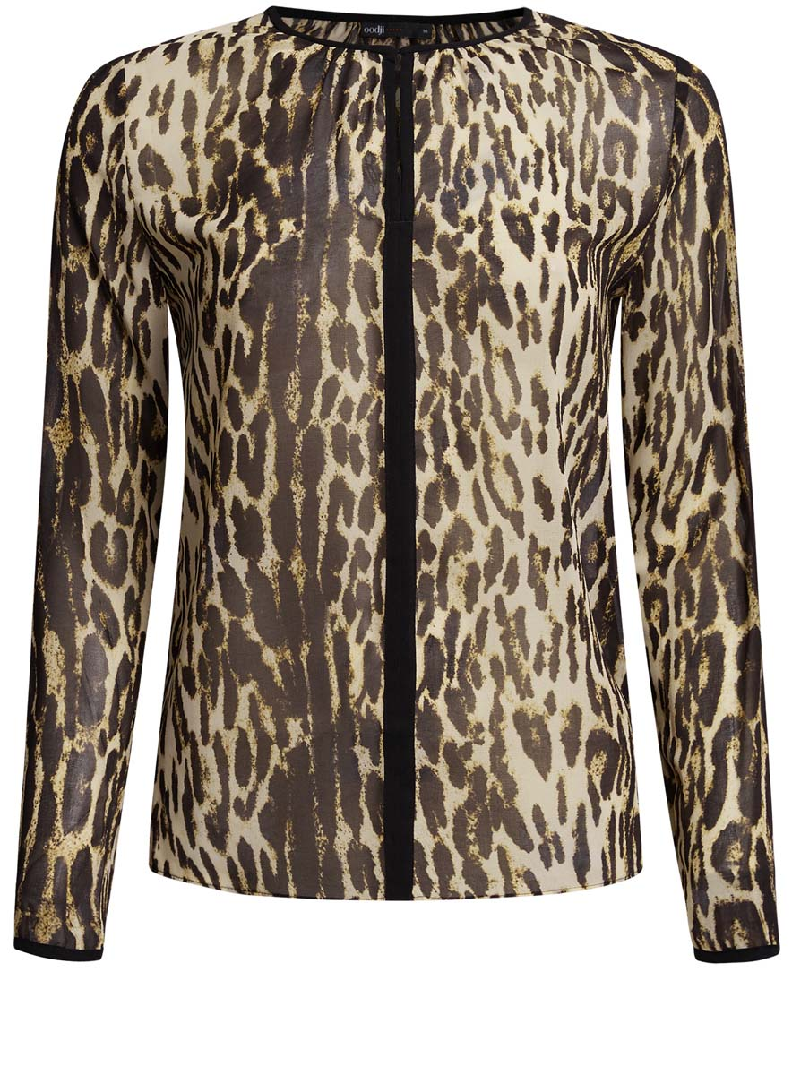 Блузка женская oodji Ultra, цвет: бежевый, черный. 11411059-2/38375/3329A. Размер 34 (40-170)