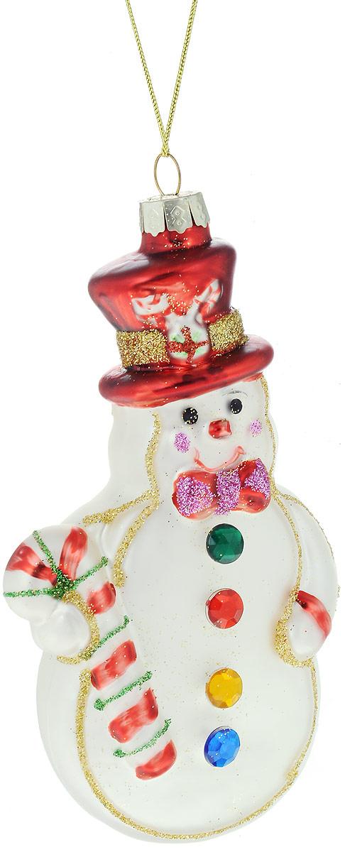 Украшение новогоднее подвесное Winter Wings Снеговик, 7 х 3 х 13 смN07869Украшение Winter Wings Снеговик прекрасно подойдет для праздничного декора новогодней ели. Изделие выполнено из высококачественного стекла и украшено блестками. Для удобного размещения на елке предусмотрена текстильная петелька.Елочная игрушка - символ Нового года. Она несет в себе волшебство и красоту праздника. Создайте в своем доме атмосферу веселья и радости, украшая новогоднюю елку нарядными игрушками, которые будут из года в год накапливать теплоту воспоминаний.