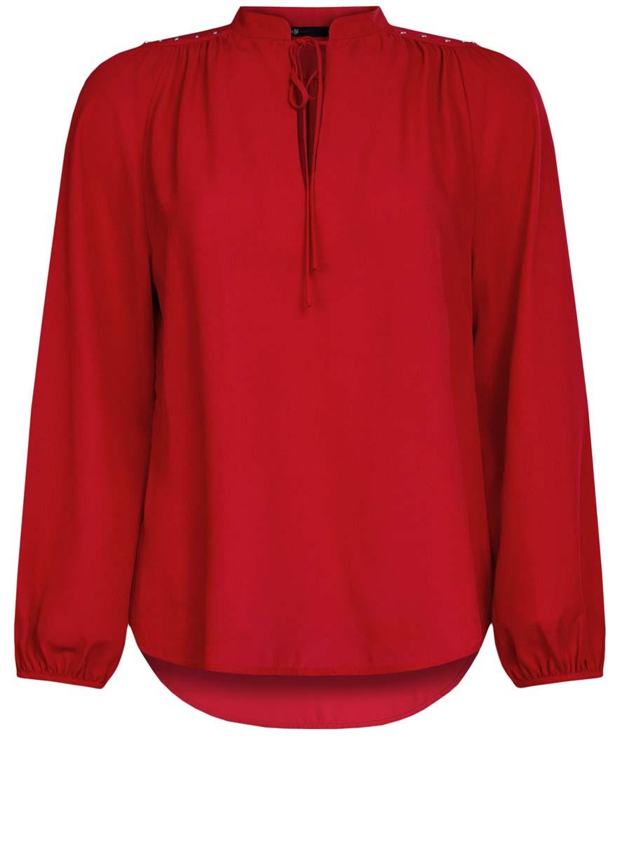 Блузка женская oodji Ultra, цвет: красный. 11411126/45873/4500N. Размер 42 (48-170)11411126/45873/4500NЖенская блузка oodji Ultra имеет свободный крой, воротник-стойку оформленный завязками и вырезом-капелькой,рукава-баллоны. Изделие декорировано металлическими кнопками по плечам. Блузка имеет скругленный низ, удлинена сзади.