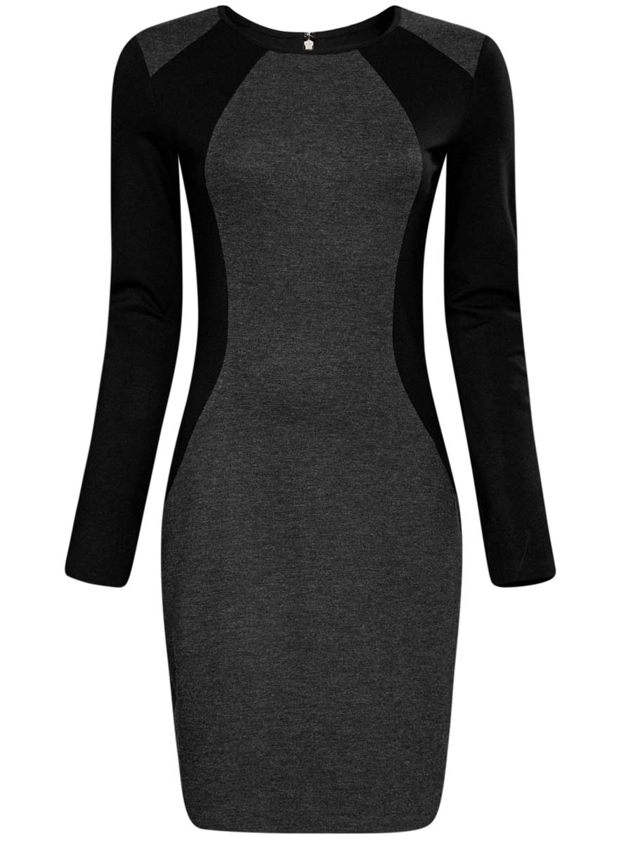 Платье oodji Ultra, цвет: темно-серый, черный. 14011009-1/43127/2329B. Размер XXS (40)14011009-1/43127/2329BСтильное платье oodji Ultra выполнено из полиэстера с добавлением полиамида, вискозы и полиуретана. Модель с круглым вырезом горловины и длинными рукавами сзади застегивается на металлическую застежку-молнию.