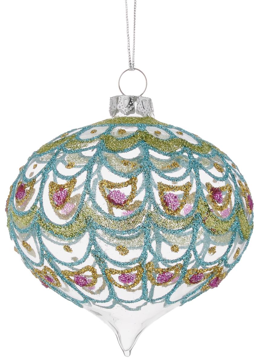 Украшение новогоднее подвесное Winter Wings Луковица. Павлин, длина 8 смN07668_вид 2Новогоднее подвесное украшение Winter Wings Луковица. Павлин выполнено из стекла в виде шара с узорами. С помощью специальной петельки украшение можно повесить в любом понравившемся вам месте. Но, конечно, удачнее всего оно будет смотреться на праздничной елке.Елочная игрушка - символ Нового года. Она несет в себе волшебство и красоту праздника. Создайте в своем доме атмосферу веселья и радости, украшая новогоднюю елку нарядными игрушками, которые будут из года в год накапливать теплоту воспоминаний.