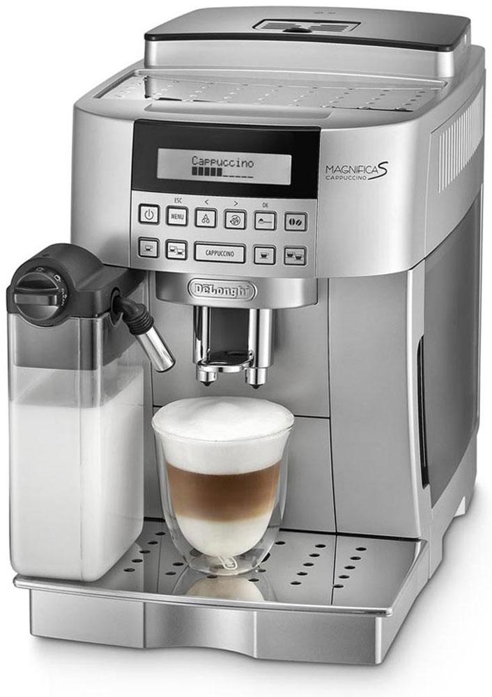 DeLonghi Magnifica EСAM22.360.S, Silver кофемашинаEcam 22.360.SКомпактная автоматическая кофемашина DeLonghi Magnifica ECAM22.360.S в серебристом корпусе оснащена запатентованной автоматической системой приготовления превосходного капучино одним нажатием кнопки.Данная модель имеет 2-строчный текстовый дисплей, позволяющий выполнить настройки в соответствии с вашими индивидуальными предпочтениями, подставку для чашек с подогревом и фильтр очистки воды.В устройстве предусмотрено шесть программ приготовления напитков. Для их активации достаточно нажать на соответствующую кнопку - все процессы выполняются в автоматическом режиме. Встроенный капучинатор позволяет не беспокоиться о необходимости взбивания молока для получения устойчивой пены.Пользователю доступны функции предварительного нагрева посуды, самостоятельной очистки резервуаров, а также включения и отключения устройства по расписанию. Кроме того, при необходимости добавления кофе и воды либо обслуживания прибора он получит предупреждение на дисплее.Съемный компактный блок приготовления вместимостью от 6 до 14 гДолговечная кофемолка с регулировкой до 13 степеней помолаПрограммируемое количество кофе на порциюПрограммируемое количество воды на порциюПредварительное смачиваниеВозможность установки кофейных чашек высотой от 86 до 142 ммКонтейнер для кофе, сохраняющий ароматКонтейнер для жмыха на 14 порций с индикацией наполненностиФильтр для водыОбъем контейнера для зерен: 250 гСъемный поддон для капель с индикатором уровня водыФункция энергосбереженияРежим ожиданияБыстрое приготовление капучино