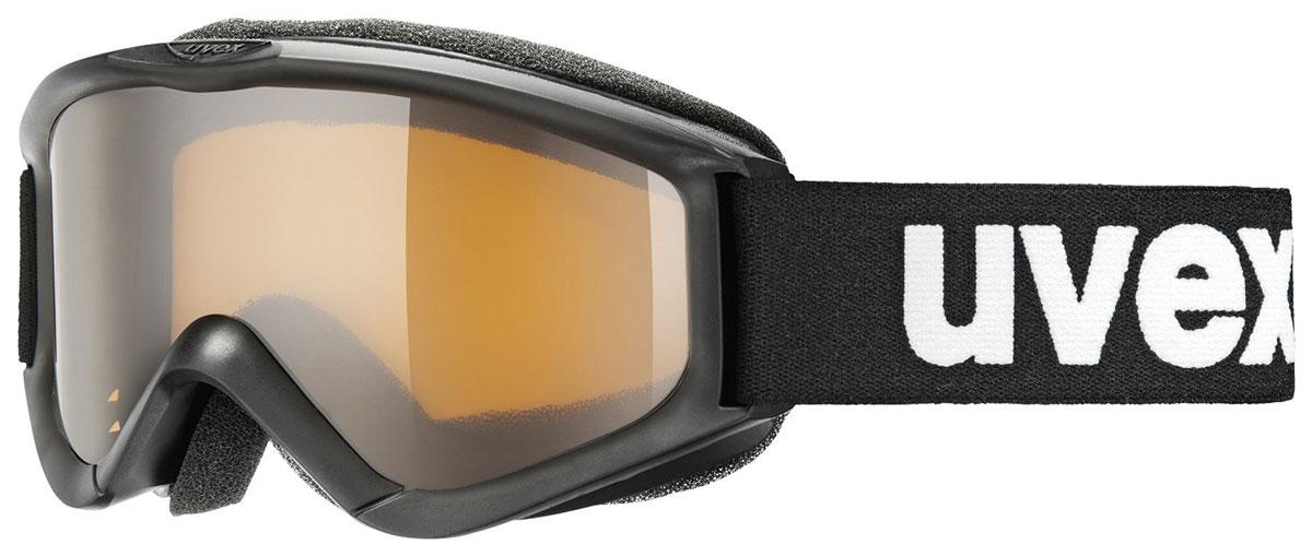 Маска горнолыжная детская Uvex Speedy Pro, цвет: черный3819-2312Детская горнолыжная маска Uvex Speedy Pro с одинарными линзами цилиндрической формы подойдет для катания в туманную или облачную погоду, а также при искусственном освещении. Модель разработана специально для детей и подростков. Поликарбонатная линза усиливает контрастность и не запотевает благодаря покрытию Supravision. В модели также предусмотрены удобный уплотнитель и вентиляция.Технология 100% UVA- UVB- UVC-PROTECTION гарантирует защиту от УФ-лучей. Маска совместима со шлемом.
