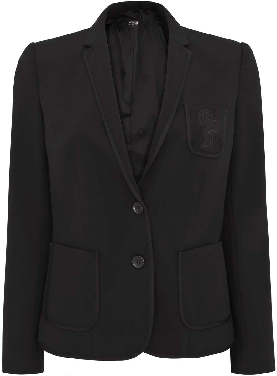 Жакет женский oodji Collection, цвет: черный. 21203104/43138/2900N. Размер 36 (42-170) платье oodji collection цвет черный белый 24001104 1 35477 1079s размер l 48
