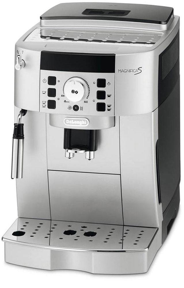 DeLonghi Magnifica ECAM 22.110.SB, кофемашинаEСAM 22.110.SBКомпактная автоматическая кофемашина DeLonghi Magnifica S ECAM 22.110 выполнена в элегантном корпусе. Она оснащена множеством удобных автоматических функций, включая автоматическое выключение, удаление накипи и самоочистка.Данная модель позволяет простым нажатием кнопки и поворотом рукоятки приготовить ваш любимый кофе. Кофемашина имеет традиционный ручной капучинатор, с помощью которого вы можете сделать пышную молочную пену для капучино, а также подставку для чашек с подогревом и фильтр очистки воды.Новая панель управленияПозволяет приготовить любой тип кофе простым нажатием кнопки. Простое вращение ручки позволяет увеличить или уменьшить крепость кофе. Нажатием кнопки можно выбрать маленькую или большую порцию.Прибор оснащен контейнером для зерен с крышкой, сохраняющий аромат.Система капучино из нержавеющей стали: смешивает пар, воздух и молоко, позволяя приготовить пышную молочную пену.Съемный компактный блок приготовления вместимостью от 6 до 14 гДолговечная кофемолка с регулировкой до 13 степеней помолаПрограммируемое количество кофе на порциюПрограммируемое количество воды на порциюПредварительное смачиваниеВозможность установки кофейных чашек высотой от 86 до 142 ммКонтейнер для кофе, сохраняющий ароматКонтейнер для жмыха на 14 порций с индикацией наполненностиФильтр для водыОбъем контейнера для зерен: 250 гСъемный поддон для капель с индикатором уровня водыФункция энергосбереженияРежим ожиданияБыстрое приготовление капучино