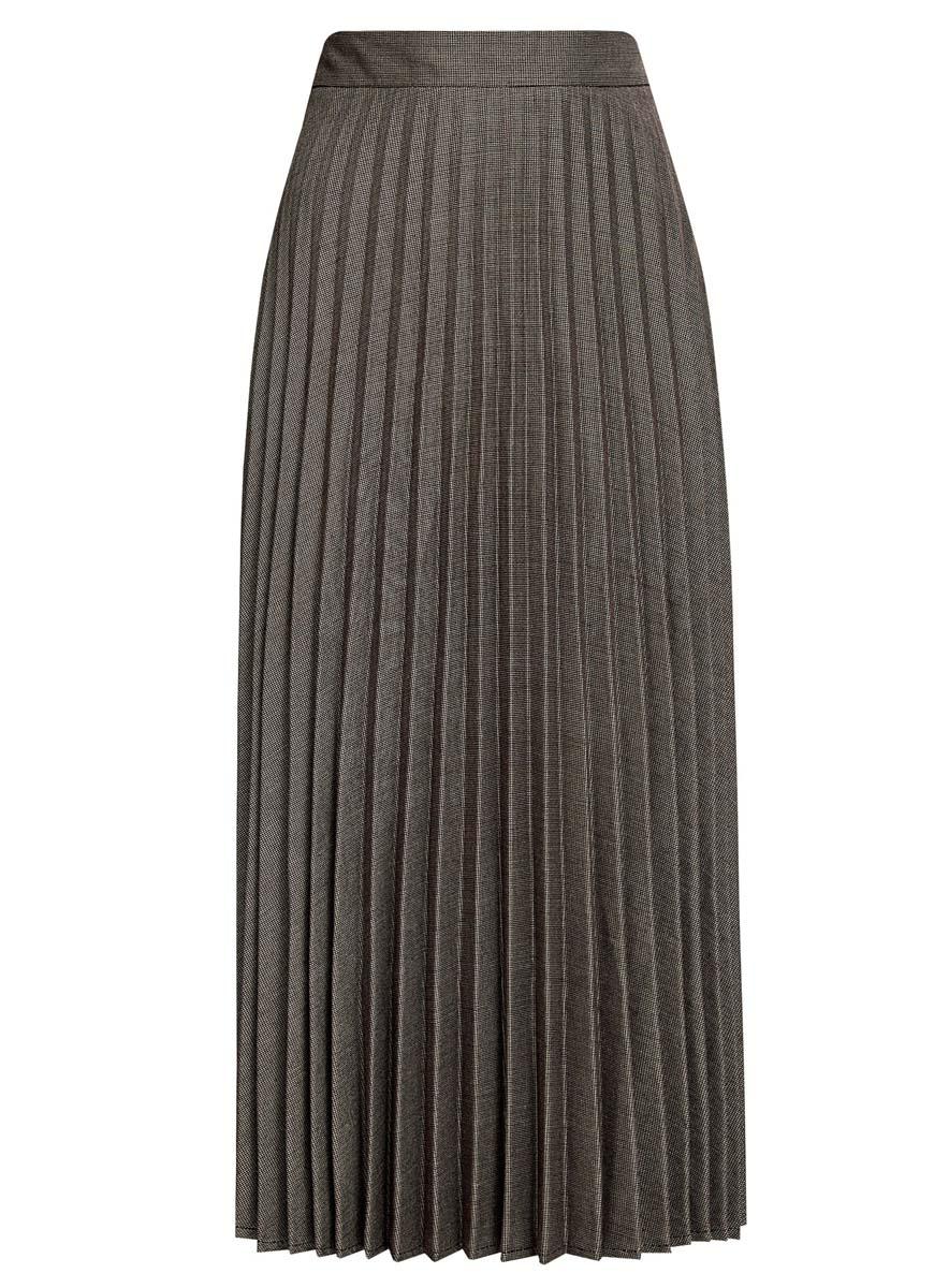 Юбка oodji Collection, цвет: темно-коричневый, белый. 21606020/45879/3912G. Размер 40 (46-170) платье oodji collection цвет черный белый 24001104 1 35477 1079s размер l 48