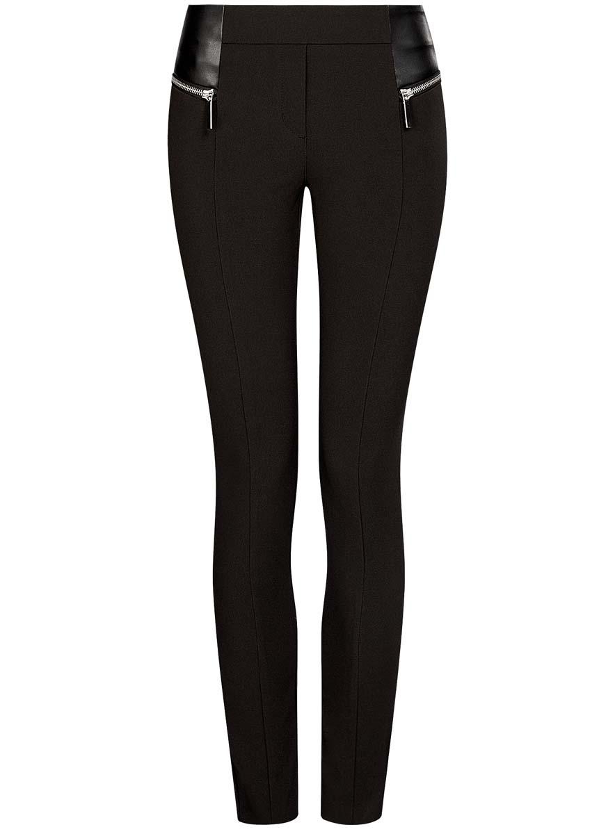 Брюки женские oodji Collection, цвет: черный. 21707013/42250/2900N. Размер 42 (48-170) платье oodji collection цвет черный 73912217 2b 33506 2900n размер l 48