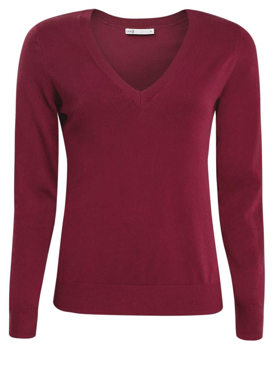 Пуловер женский oodji Collection, цвет: бордовый. 73812290-6/24525/4900N. Размер L (48) водолазка женская oodji collection цвет оранжевый 74412572b 24525 5200n размер xl 50