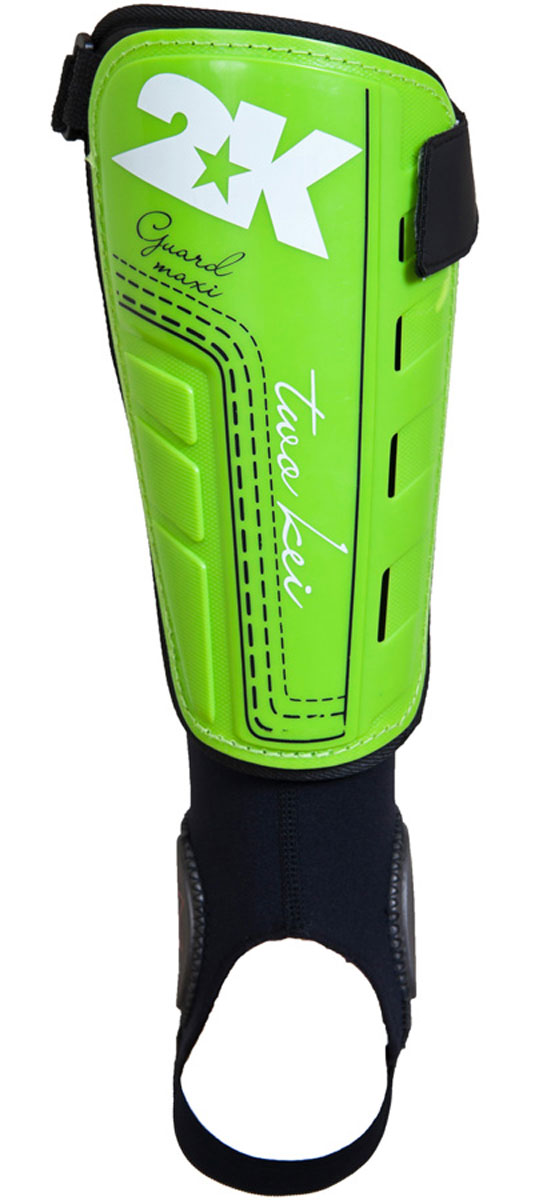 Щитки футбольные 2K Sport Guard, цвет: светло-зеленый, черный, белый. 127325. Размер M127325Футбольные щитки профессионального уровня 2K Sport Guard Maxi оснащены манжетой с специальными накладками для защиты голеностопа. Манжет крепится к основной части на липучке, таким образом вы можете использовать щиток и без него. Верх выполнен из высококачественного полипропилена. Щитки оснащены прочной передней панелью. Двухслойная текстильная подкладка с перфорациями обеспечивает лучшую вентиляцию. В верхней части щитка имеется затяжной ремешок для фиксации на ноге.