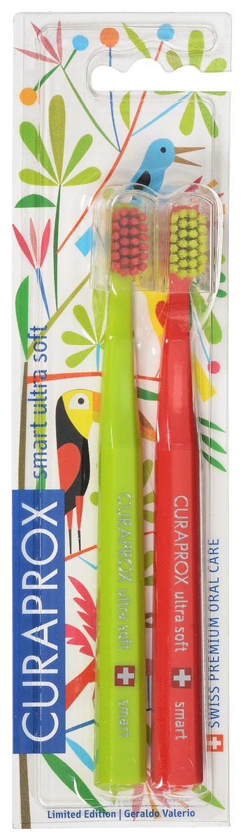 Curaprox CS smart/2 Duo Jungle Набор детских зубных щеток Curaprox CS smart ultra soft (2 шт.) цвет:салатовый, красныйCS smart/2 Duo Jungle_салатовый,красный