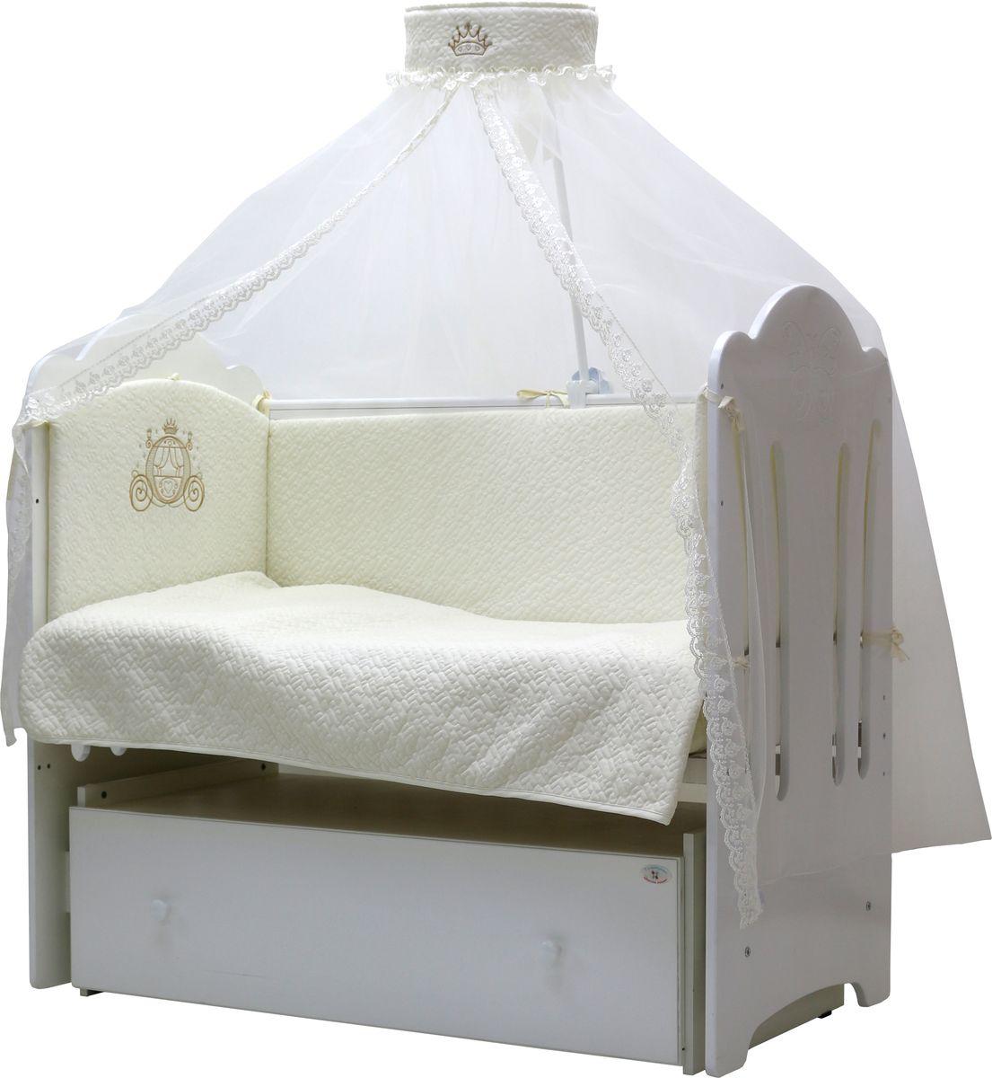 """Комплект постельного белья «Сказка» от бренда """"Топотушки"""" выполнен в классическом белом цвете. Одеяло в комплекте выполнено из  холлофайбера. Ткань - поплин. С таким постельным бельем вашему ребенку будут снится яркие сказочные сны!  В набор постельного белья входят: -Балдахин – 4 м -Бортики из 4-х частей 360*35см, -Подушка 40*60см, -Одеяло 100*140 см , -Наволочка 40*60см, -Пододеяльник 104*146см, -Простынь на резинке 120*60см,"""