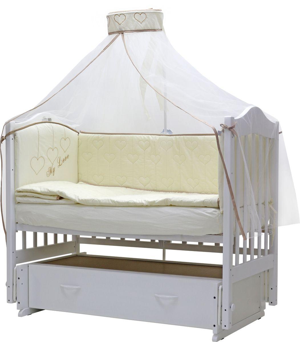 """Комплект постельного белья из 7 предметов включает все необходимые элементы для детской кроватки.  Комплект создает для Вашего ребенка уют, комфорт и безопасную среду с рождения, современный дизайн и цветовые сочетания помогают  ребенку адаптироваться в новом для него мире.   Комплекты """"Топотушки"""" хорошо вписываются в интерьер как детской комнаты, так и спальни родителей. Как и все изделия «Топотушки» данный  комплект отражает самые последние технологии, является безопасным для малыша и экологичным. Российское происхождение комплекта  гарантирует стабильно высокое качество, соответствие актуальным пожеланиям потребителей, конкурентоспособную цену.  Комплектация:  Балдахин 4,5м (микро сетка); охранный бампер 360х40 см. (из 4-х частей, наполнитель - холлофайбер); подушка 40х60 см. (наполнитель -  холлофайбер); одеяло 140х110 см. (наполнитель - холлофайбер); наволочка 40х60 см; пододеяльник 147х112 см; простынь на резинке 120х60 см."""