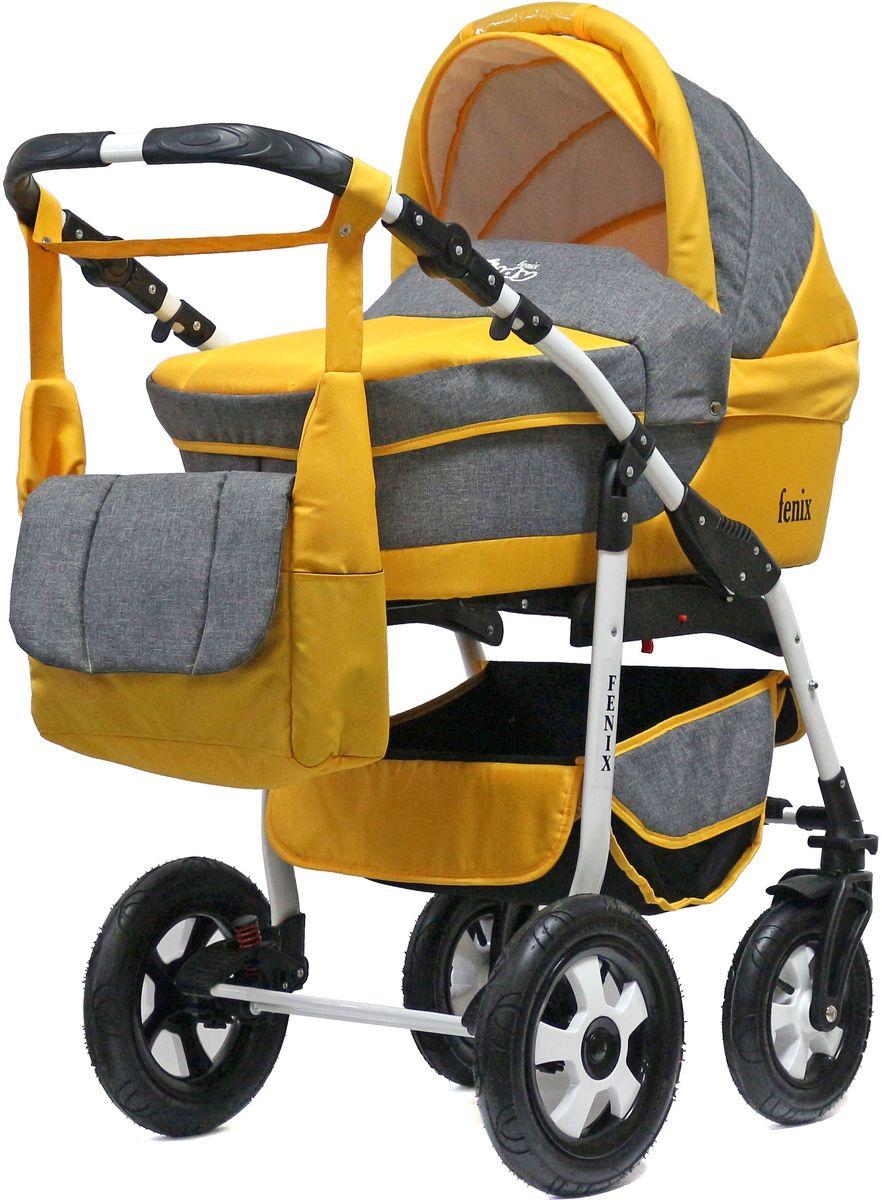 Teddy Коляска 2 в 1 Fenix Len цвет серый желтый teddy коляска 2 в 1 giovani цвет серый