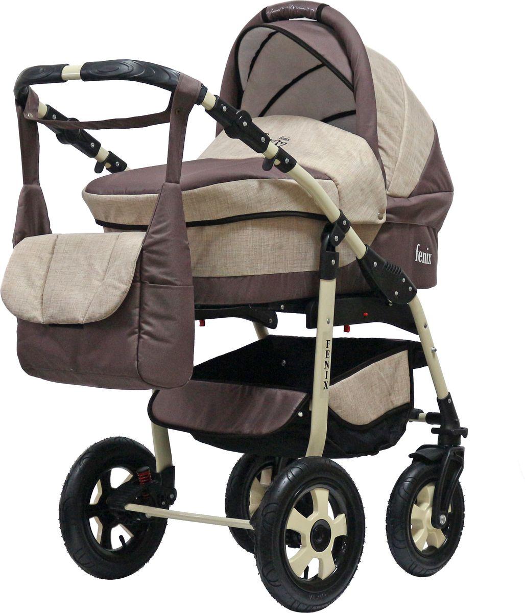 Teddy Коляска 2 в 1 Fenix Len цвет бежевый коричневый teddy коляска 2 в 1 giovani цвет серый