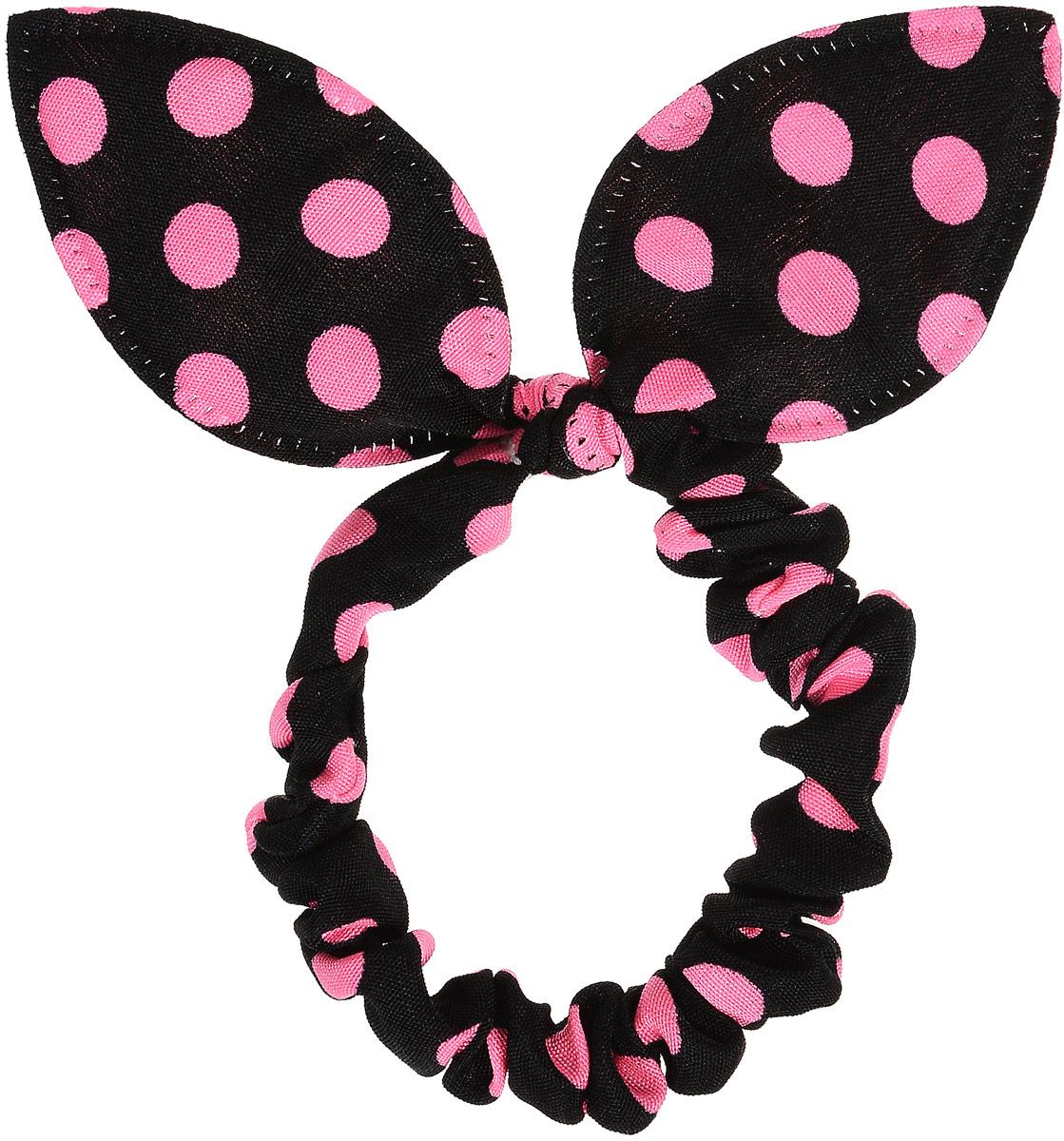 Magic Leverage Резинка для волос, цвет: черный, розовыйрг_черный, розовыйСтильная резинка для волос Magic Leverage подчеркнет красоту вашей прически. Резинка выполнена из мягкого текстильного материала и оформлена стильным принтом в горох, а также дополнена оригинальным бантиком, который будет великолепно смотреться в ваших волосах. С помощью такой резинки вы сможете создать множество оригинальных причесок. Яркость и удобство резинки для волос делают ее практичным и модным аксессуаром.