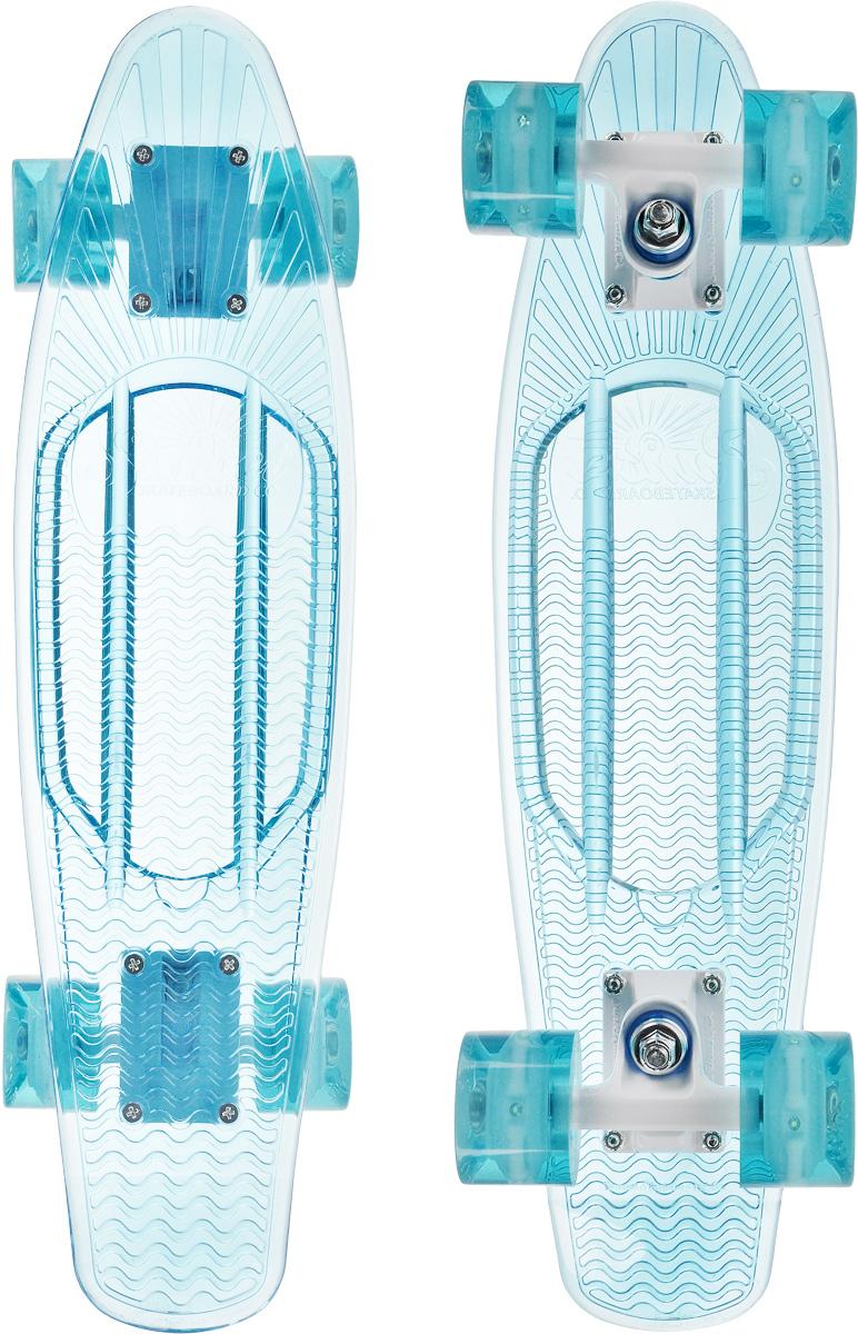 Скейтборд пластиковый Sunset Skateboards Ocean, цвет: голубой, дека 56 х 15 смOCEAN-A-AКрасивый и функциональный пластборд Sunset Skateboards Ocean, изготовленный из прочного поликарбоната (PC), отлично сочетается со светящимися колесами Flare LED. Стильный днем и ночью, он создан для того, чтобы производить впечатление на окружающих. Пластборд сочетает в себе высокую прочность поликарбоната, который используют для производства бронестекол, гибкость и стабильность. Запатентованная формула с УФ-ингибиторами продлевает срок службы на открытом воздухе. Колеса выполнены из высококачественного полиуретана.Подходит для детей от 7 лет.