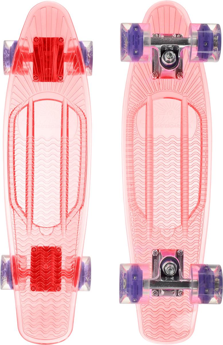 Скейтборд пластиковый Sunset Skateboards Princess, цвет: розовый, прозрачный, дека 56 х 15 смBLACKLIGHT PRINCESSКрасивый и функциональный пластборд Sunset Skateboards Princess, изготовленный из прочного поликарбоната (PC), отлично сочетается со светящимися колесами Flare LED. Стильный днем и ночью, он создан для того, чтобы производить впечатление на окружающих. Пластборд сочетает в себе высокую прочность поликарбоната, который используют для производства бронестекол, гибкость и стабильность. Запатентованная формула с УФ-ингибиторами продлевает срок службы на открытом воздухе. Колеса выполнены из высококачественного полиуретана.Подходит для детей от 7 лет.