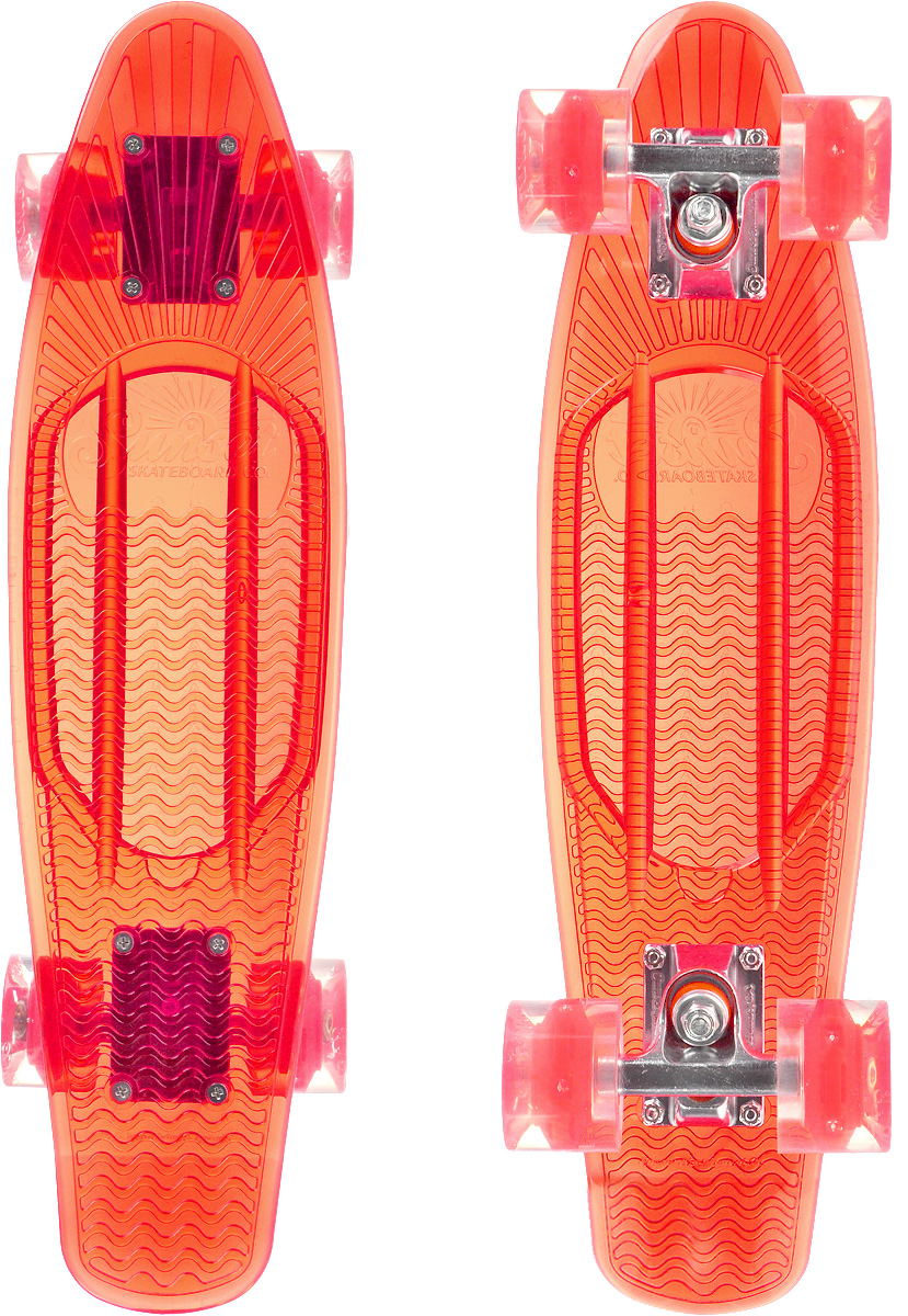 Скейтборд пластиковый Sunset Skateboards Lifeguard, цвет: красный, прозрачный, дека 56 х 15 смLIFEGUARD-R-RКрасивый и функциональный пластборд Sunset Skateboards Lifeguard, изготовленный из прочного поликарбоната (PC), отлично сочетается со светящимися колесами Flare LED. Стильный днем и ночью, он создан для того, чтобы производить впечатление на окружающих. Пластборд сочетает в себе высокую прочность поликарбоната, который используют для производства бронестекол, гибкость и стабильность. Запатентованная формула с УФ-ингибиторами продлевает срок службы на открытом воздухе. Колеса выполнены из высококачественного полиуретана. Подходит для детей от 7 лет.