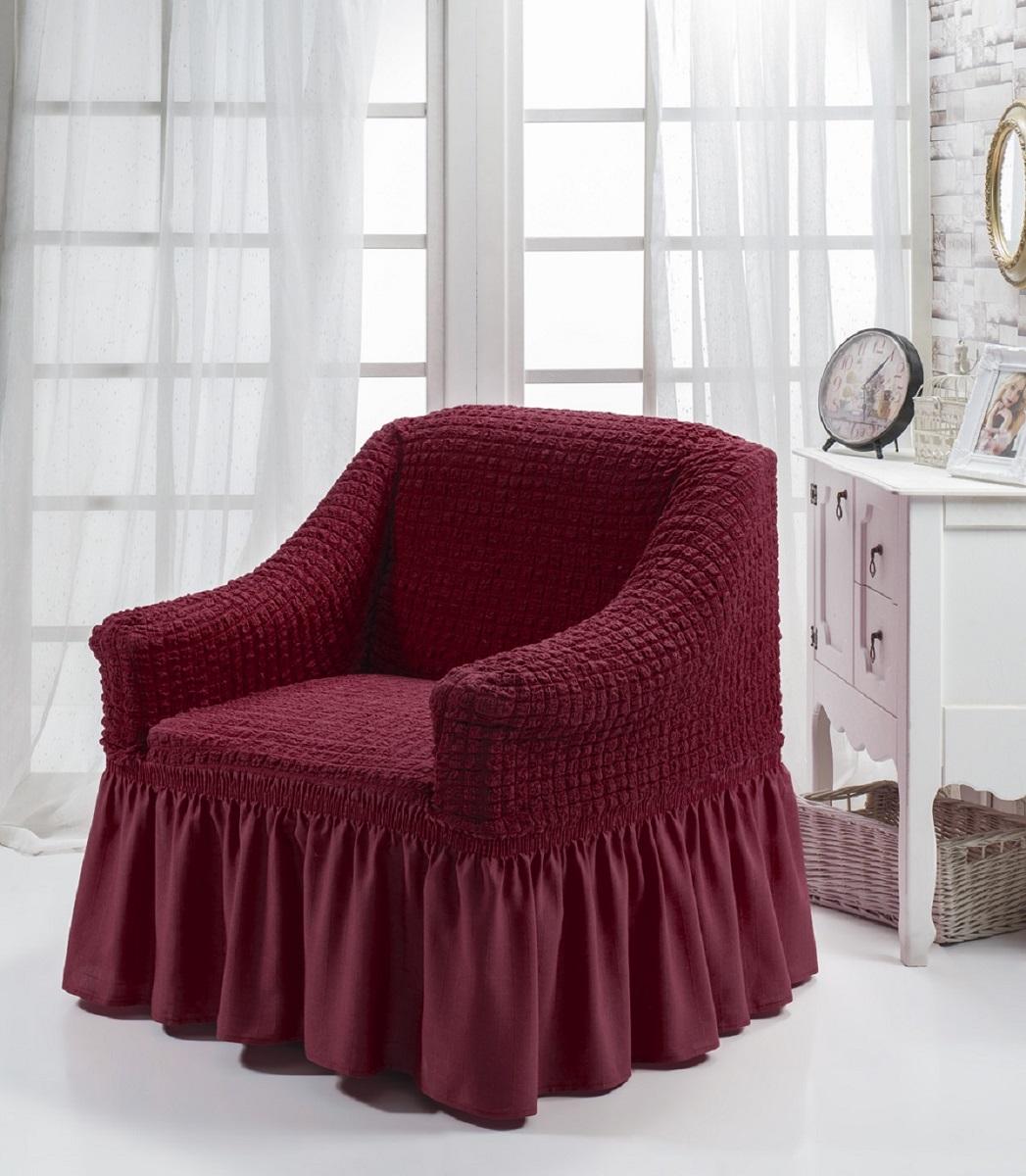 """Чехол на кресло Burumcuk """"Bulsan"""" выполнен из высококачественного полиэстера и хлопка с красивым рельефом. Предназначен для кресла стандартного размера со спинкой высотой в 140 см. Такой чехол изысканно дополнит интерьер вашего дома. Изделие прорезинено со всех сторон и оснащено закрывающей оборкой. Ширина и глубина посадочного места: 70-80 см. Высота спинки от сиденья: 70-80 см. Высота подлокотников: 35-45 см. Ширина подлокотников: 25-35 см. Длина оборки: 35 см."""