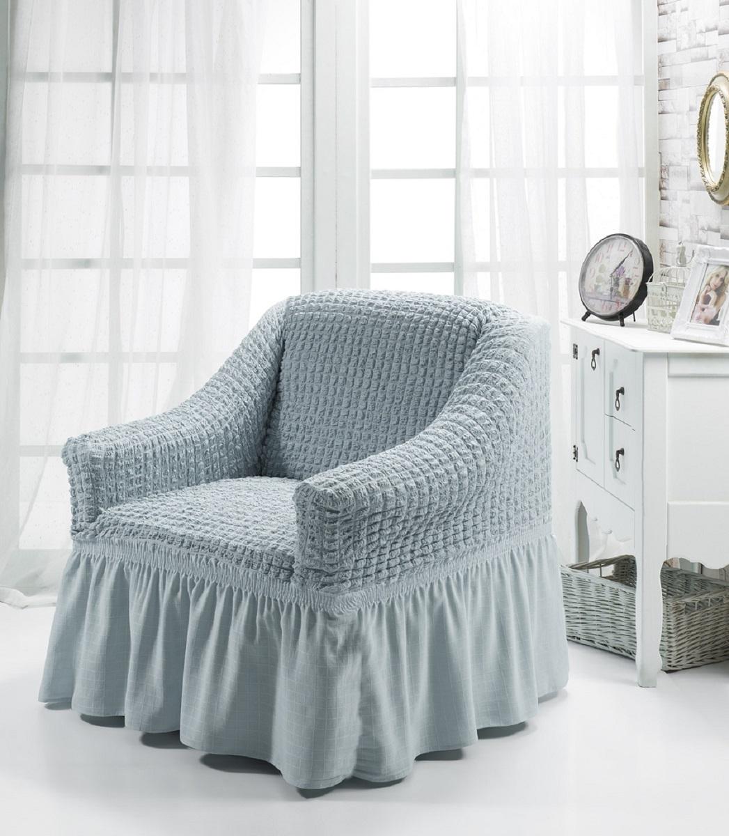 Чехол для кресла Burumcuk Bulsan, цвет: серый1797/CHAR005Чехол на кресло Burumcuk Bulsan выполнен из высококачественного полиэстера и хлопка с красивым рельефом. Предназначен для кресла стандартного размера со спинкой высотой в 140 см. Такой чехол изысканно дополнит интерьер вашего дома. Изделие прорезинено со всех сторон и оснащено закрывающей оборкой. Ширина и глубина посадочного места: 70-80 см. Высота спинки от сиденья: 70-80 см. Высота подлокотников: 35-45 см. Ширина подлокотников: 25-35 см. Длина оборки: 35 см.