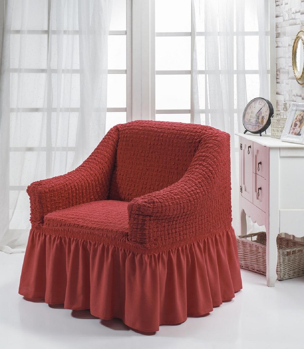 Чехол для кресла Burumcuk Bulsan, цвет: кирпичный1797/CHAR008Чехол на кресло Burumcuk Bulsan выполнен из высококачественного полиэстера и хлопка с красивым рельефом. Предназначен для кресла стандартного размера со спинкой высотой в 140 см. Такой чехол изысканно дополнит интерьер вашего дома. Изделие прорезинено со всех сторон и оснащено закрывающей оборкой.Ширина и глубина посадочного места: 70-80 см.Высота спинки от сиденья: 70-80 см.Высота подлокотников: 35-45 см.Ширина подлокотников: 25-35 см.Длина оборки: 35 см.