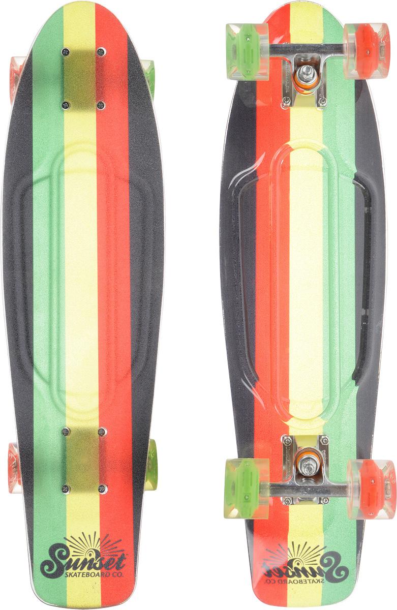 Скейтборд пластиковый Sunset Skateboards Rasta Grip, дека 68,5 х 19 смRASTA-Grip-RКрасивый и функциональный пластборд Sunset Skateboards Rasta Grip, изготовленный из прочного поликарбоната (PC), отлично сочетается со светящимися колесами Flare LED. Верхняя часть деки покрыта нескользящим слоем. Стильный днем и ночью, он создан для того, чтобы производить впечатление на окружающих. Пластборд сочетает в себе высокую прочность поликарбоната, который используют для производства бронестекол, гибкость и стабильность. Запатентованная формула с УФ-ингибиторами продлевает срок службы на открытом воздухе. Колеса выполнены из высококачественного полиуретана.Подходит для детей от 7 лет.