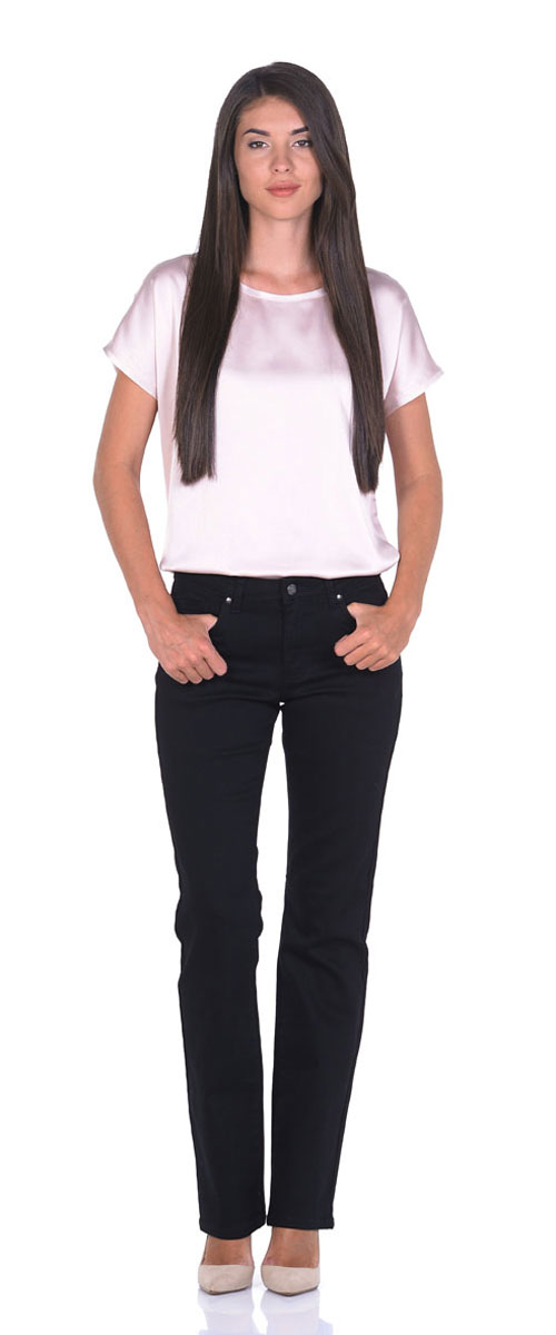 Джинсы женские Montana Bell, цвет: черный. 10775. Размер 28-34 (46-34)10775_RWСтильные женские джинсы Montana Bell - отличная модель на каждый день, которая прекрасно вам подойдет.Изделие изготовлено из хлопка с добавлением полиэстера и спандекса. Джинсы прямого кроя высокой посадки на талии застегиваются на металлическую пуговицу, также имеются ширинка на застежке-молнии и шлевки для ремня. Спереди модель дополнена двумя втачными карманами со и одним маленьким накладным кармашком, а сзади - двумя накладными карманами. Оформлены джинсы в лаконичном однотонном стиле.