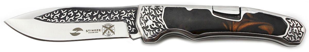 Нож складной Stinger, цвет: коричневый, 117 мм. A-3154A-3154Складной нож Stinger изготовлен из нержавеющей стали, прочных пород древесины и различных полимеров. Нож выполнен в современном стиле. Он будет отличным подарком для рыбака, охотника, спортсмена или человека, который ценит отдых на природе. Лезвие и рукоять из нержавеющей стали и дерева, с клипом. Размер ножа в открытом виде - 209 мм., толщина лезвия - 3 мм.