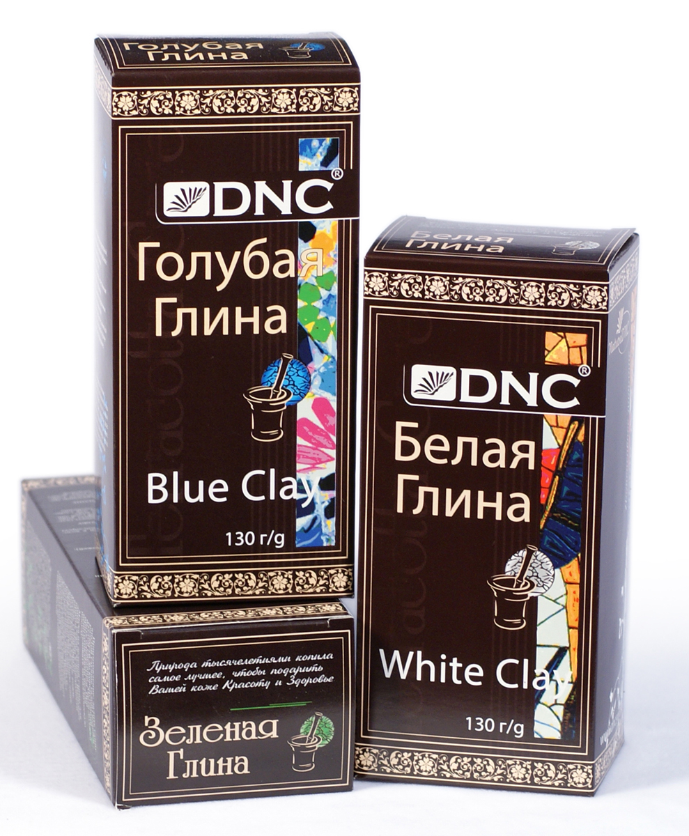 DNC Набор косметической глины: Белая 130 г, Зеленая 100 г, Голубая 130 г набор для ухода за лицом dnc dnc dn001lwtax84