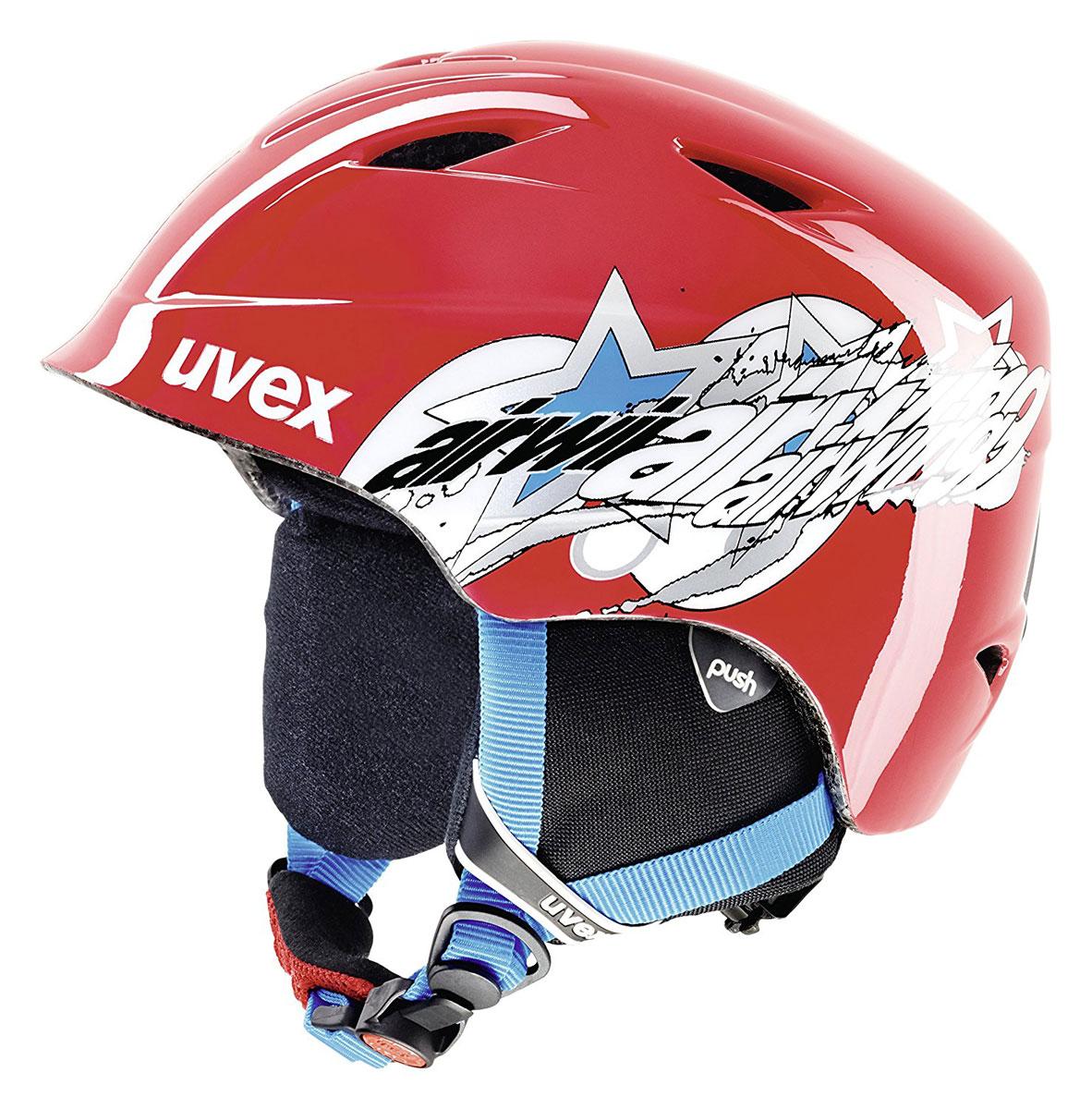Шлем зимний Uvex Airwing 2, детский, цвет: красный. Размер XS6132-3301Детский шлем Uvex Airwing предназначен для катаний на сноуборде и занятий другими зимними развлечениями. Шлем снабжен универсальным внутренним настроечным кольцом, регулируемыми текстильными ремешками и вентиляционными отверстиями. Большое количество вентиляционных отверстий гарантирует отличную циркуляцию воздуха на разных скоростях движения при сохранении жесткости. Подстежка изготовлена из пенополистирола. Ее роль заключается в рассеивании энергии при ударе, что защищает голову. Верхняя часть шлема, выполненная из прочного пластика, препятствует разрушению изделия, защищает шлем от прокола и позволять ему скользить при ударах. Способность шлема скользить по поверхности является важной его характеристикой, так как при падении движение уменьшается не сразу, а постепенно, снижая тем самым нагрузку на голову и шею. Шлем оснащен утеплительной подкладкой и мягкой защитой ушей. При желании их можно снять, что позволяет использовать шлем и в теплый период времени.Надежный шлем с ярким дизайном обеспечит высокую степень защиты вашего ребенка. А вентиляционные отверстия сделают катание максимально комфортным.
