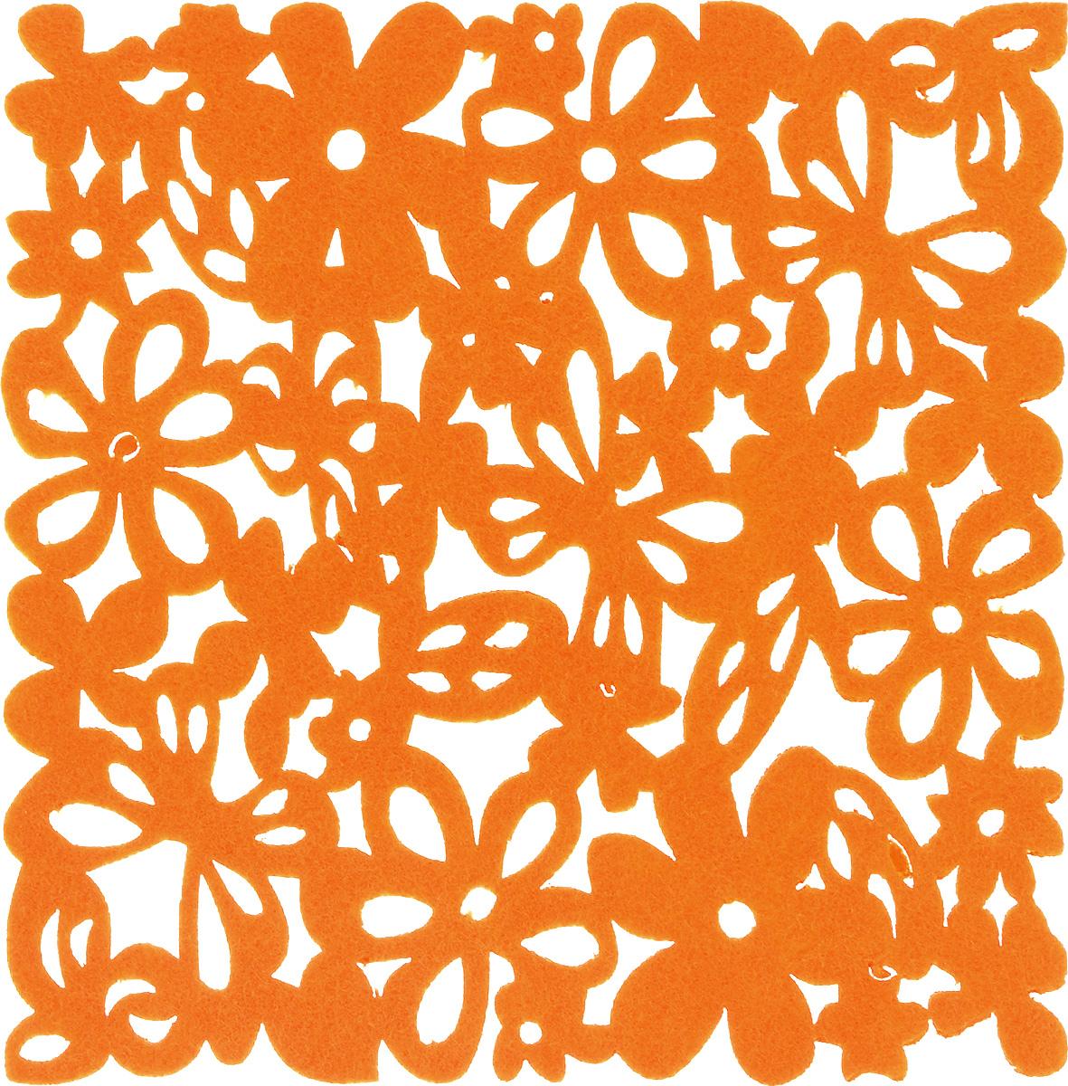Салфетка-подставка под горячее Blumen Haus, квадратная, цвет: оранжевый, 20 х 20 см82015_оранжевыйКвадратная салфетка-подставка под горячее Blumen Haus изготовлена из фетра и оформлена изысканной перфорацией. Она прекрасно подойдет для украшения интерьера кухни. Каждая хозяйка знает, что подставка под горячее - это незаменимый и очень полезный аксессуар на кухне. Ваш стол будет не только украшен оригинальной подставкой, но и защищен от воздействия высоких температур ваших кулинарных шедевров.