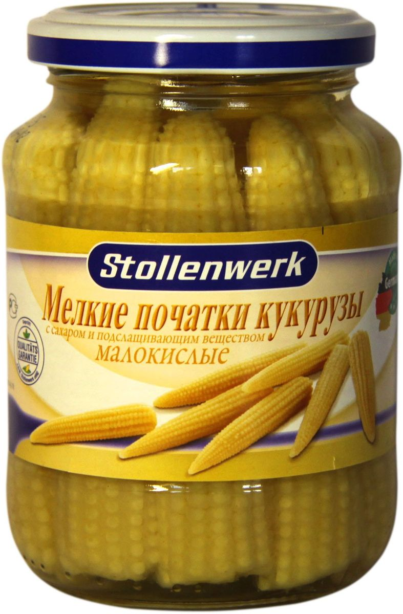 Stollenwerk мелкие початки кукурузы малокислые, 370 мл stollenwerk горошек молодой деликатесный 720 мл