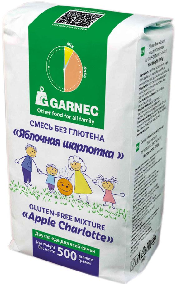 Гарнец смесь для выпечки Яблочная шарлотка без глютена, 500 г662215Продукт предназначен для всей семьи. Все компоненты и готовая продукция проходят контроль на содержание глютена. Отсутствуют ароматизаторы, усилители вкуса и другие химические добавки.