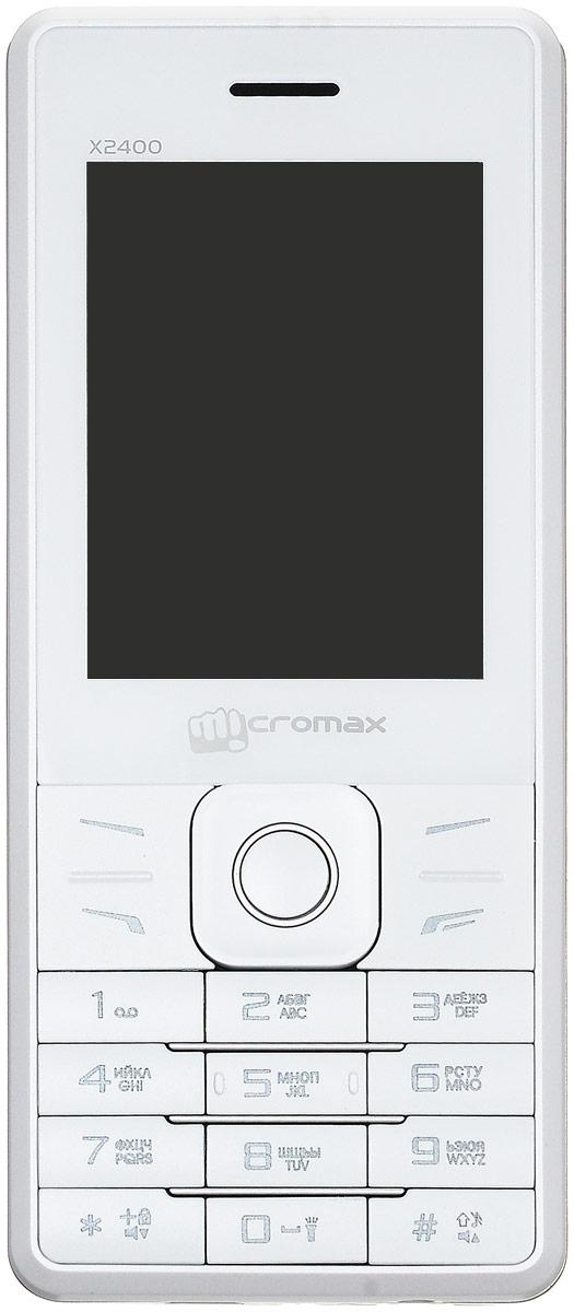 Micromax X2400, WhiteMicromax X2400 WhiteПодчеркните свой стиль телефоном Micromax X2400. Сами задавайте моду благодаря элегантной кожаной отделке устройства! Ведь главное в Micromax X2400 - это стиль!Наслаждайтесь видео на 2,4-дюймовом дисплее Micromax X2400. Успевайте больше с мощной батареей на 2800 мАч. Фотографируйте памятные моменты, друзей и родных на 0,3-мегапиксельную камеру телефона. Фильмы, песни и радио! С Micromax X2400 скучно не будет.Записывайте веселые разговоры с помощью Micromax X2400 и храните приятные воспоминания вечно!Micromax X2400 поддерживает карты памяти объемом до 8 ГБ - этого хватит на любимые видео, песни и изображения!Работа и личная жизнь в одном телефоне? Легко! Micromax X2400 поддерживает сразу две SIM-карты.Телефон сертифицирован EAC и имеет русифицированную клавиатуру, меню и Руководство пользователя.