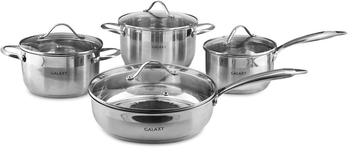 Набор посуды Galaxy, 8 предметов. GL9506GL9506Набор посуды Galaxy состоит из 2 кастрюль, сотейника и ковша. Изделия выполнены из высококачественной нержавеющей стали иимеюткрышки из жаропрочного стекла. Они оснащены эргономичными ручками и имеют шкалу объема. Набор подходит для всех типов плит, в том числе индукционных. Объем кастрюль: 2,6, 3,6 л. Размер кастрюль: 18 х 10,5; 20 х 11,5 см. Размер сковороды: 24 х 6,5 см. Ковш: 1,9 л. Размер ковша: 16 х 9,5 см.