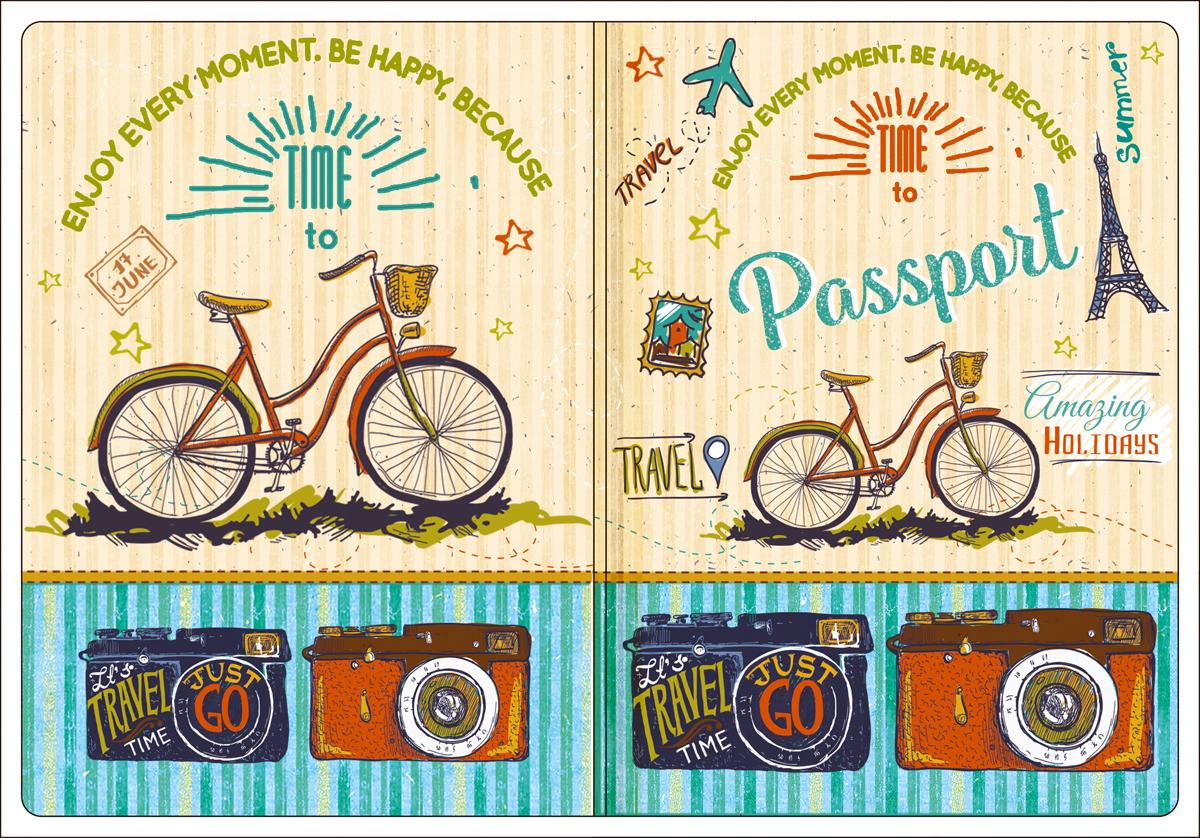 Обложка для паспорта Magic Home, цвет: бежевый, голубой. 4450744507Обложка для паспорта от Magic Home классической модели выполнена из поливинилхлорида. Модель с широкими полями, оформлена оригинальным принтом.