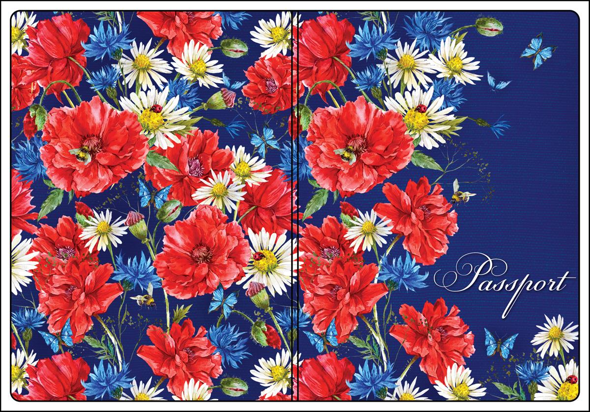 Обложка для паспорта женская Magic Home, цвет: синий, красный. 4450844508Обложка для паспорта от Magic Home классической модели выполнена из поливинилхлорида. Модель с широкими полями, оформлена оригинальным принтом.