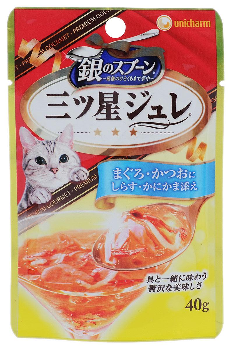 Консервы Unicharm Silver Spoon для кошек, с желе из скумбрии и тунца, 40 г688182Восхитительное желе Unicharm Silver Spoon с нежным вкусом тунца и скумбрии - это полноценное питание для вашей кошки. Продукт изготовлен только из натуральных ингредиентов без искусственных красителей и консервантов. Содержит витаминно-минеральный комплекс для здоровья и отлично физической формы пушистого питомца.Товар сертифицирован.
