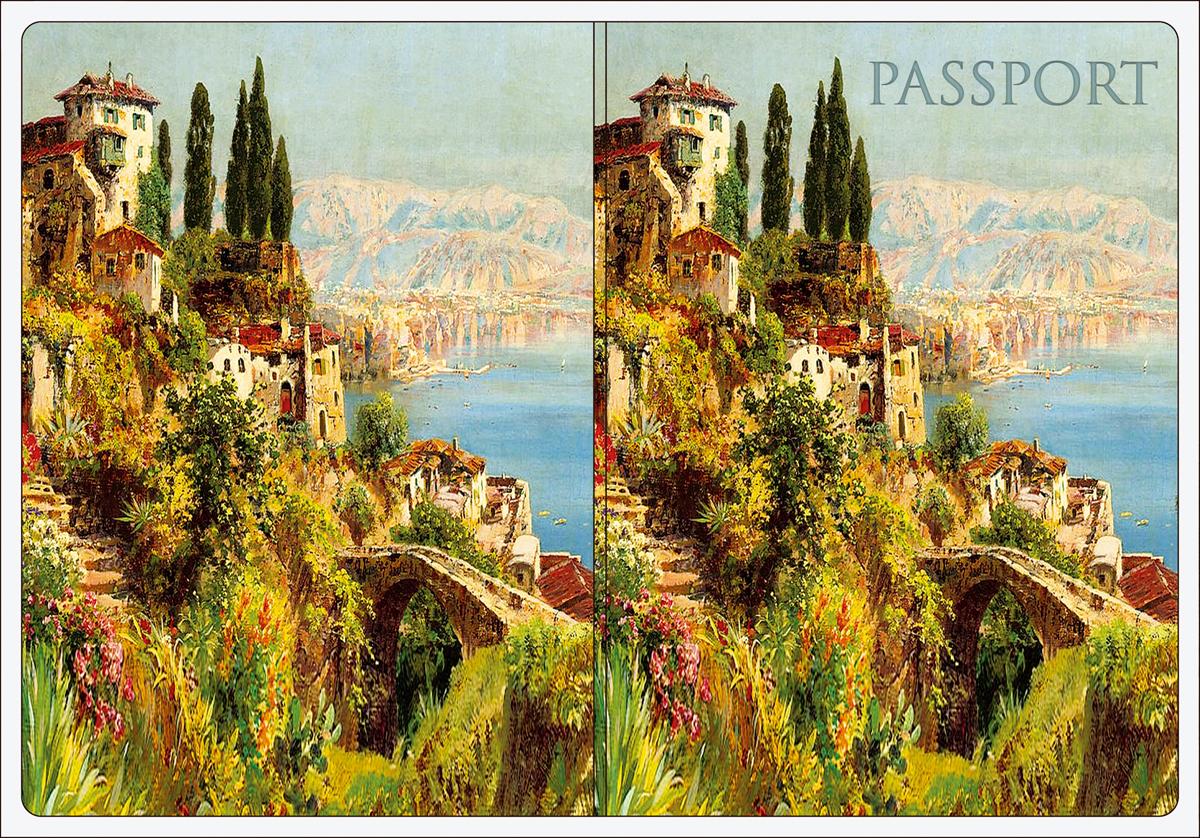 Обложка для паспорта Magic Home, цвет: зеленый, голубой. 4452044520Обложка для паспорта от Magic Home классической модели выполнена из поливинилхлорида. Модель с широкими полями, оформлена оригинальным принтом.