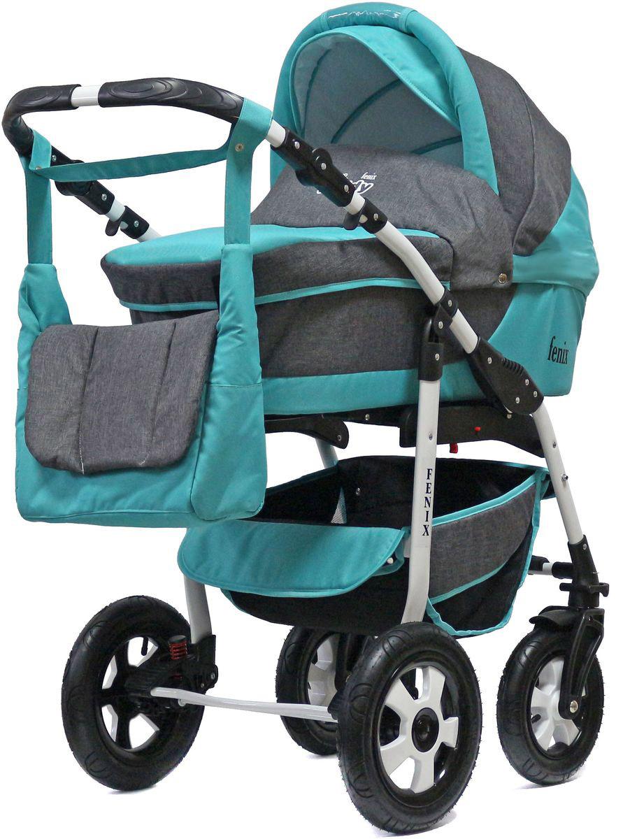 Teddy Коляска 2 в 1 Fenix Len цвет серый бирюзовый fenix правила безопасности дома для малышей