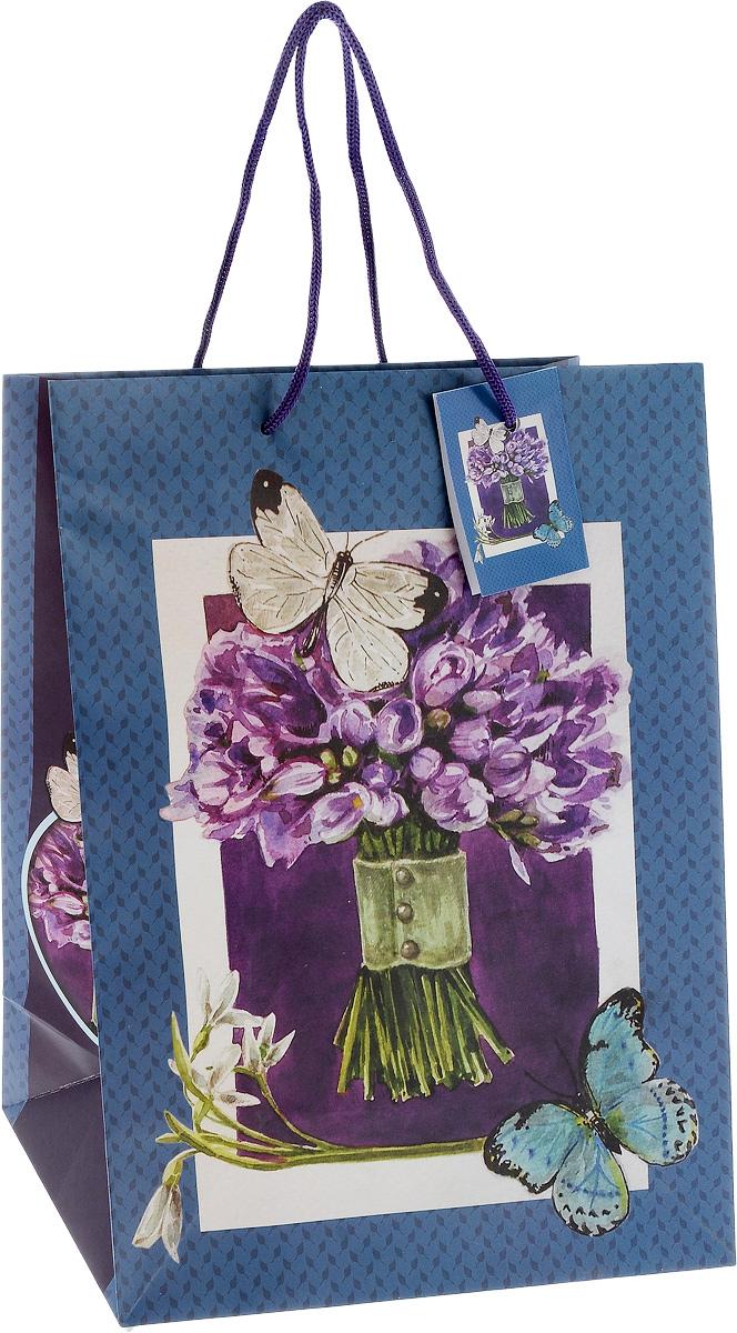 Пакет подарочный Феникс-Презент Сиреневый букет, 26 х 13 х 33 см феникс презент подарочный пакет лимоны 26 32 4 12 7 см
