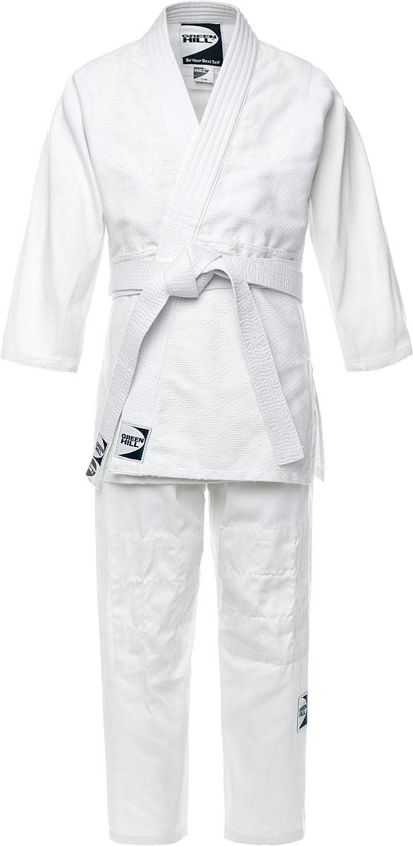 Кимоно для дзюдо Green Hill Club, плотность 500 гр/м2, цвет: белый. P1020-6. Размер 6/190P1020Кимоно для дзюдо Green Hill Club состоит из рубашки, брюк и пояса. Просторная рубашка с глубоким запахом, с боковыми разрезами и рукавом три четверти завязывается специальными завязками. Модель усилена двойными швами на плечах, руках и груди. Просторные брюки на широком поясе и шнурком для фиксации брюк на талии. Длинный плотный пояс укреплен многорядной прострочкой. Комплект изготовлен из натурального хлопка плотностью 500 гр/м2.