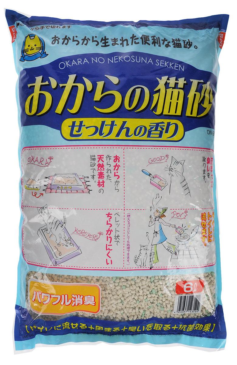 Наполнитель для кошачьего туалета Hitachi Okara, с ароматом мыла, 6 л143544Наполнитель для кошачьего туалета Hitachi Okara изготовлен из натуральных компонентов, которые быстро адсорбируют влагу и превращают кошачьи выделения в комочки, растворимые в воде. Для утилизации достаточно смыть комочки использованного наполнителя в унитаз. Наполнитель предотвращает распространение неприятного запаха и купирует размножение бактерий. Благодаря натуральной основе, животное быстро привыкает к наполнителю. Изделие содержит специальные ароматизированные гранулы.Состав: окара, карбонат кальция, крахмал, антибактериальный компонент, проклеивающиеся компоненты, антиоксидант, отдушки, красители.Товар сертифицирован.
