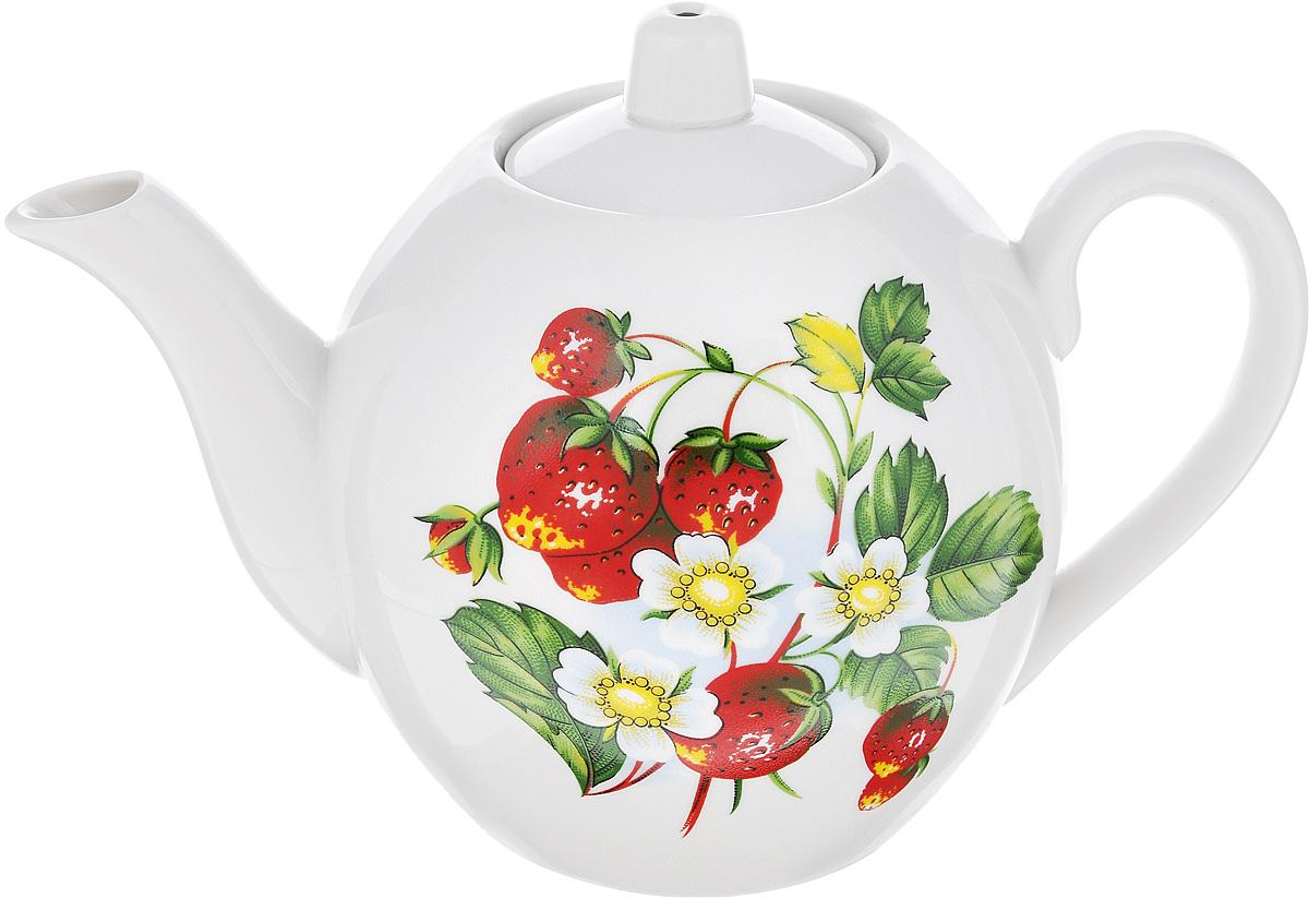 Чайник заварочный Фарфор Вербилок Цветущая земляника, 800 мл салатник фарфор вербилок цветущая земляника 360 мл