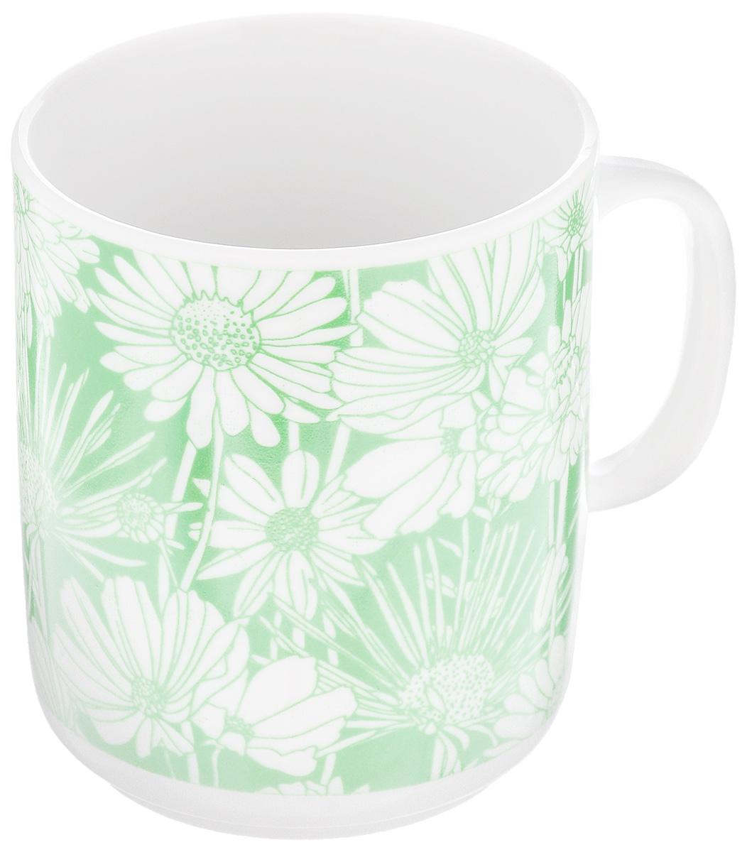 Кружка Фарфор Вербилок Цветочная поляна, цвет: белый, зеленый, 300 мл салатник фарфор вербилок 360 мл 6970000б