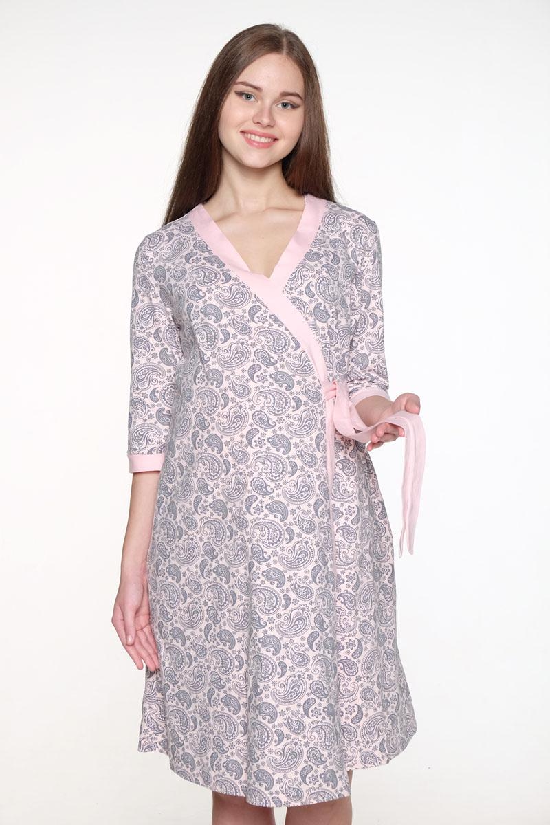 Комплект одежды для беременных и кормящих Hunny Mammy: халат, сорочка ночная, цвет: розовый, серый. 1-НМК 08520. Размер 461-НМК 08520Уютный, нежный комплект состоит из халата и ночной сорочки. Халат на запах с широким поясом и рукавом 3/4, сорочка с секретом для кормления.